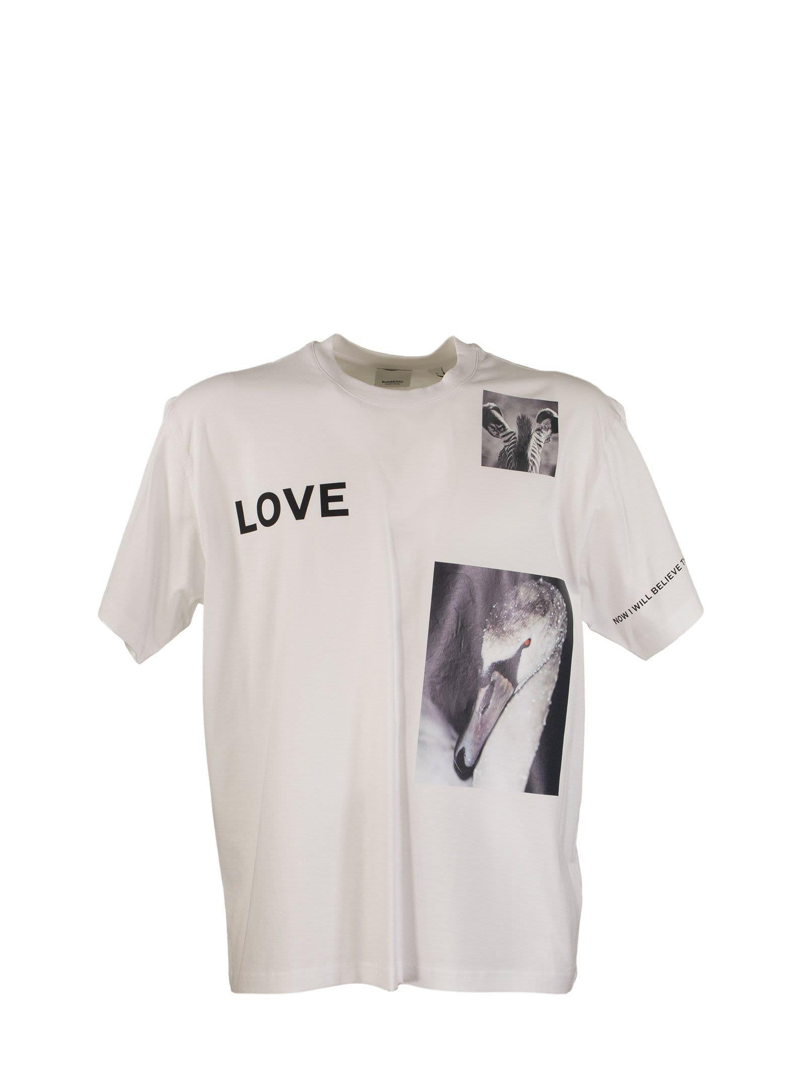 Burberry Montage Print Cotton T-shirt Love White