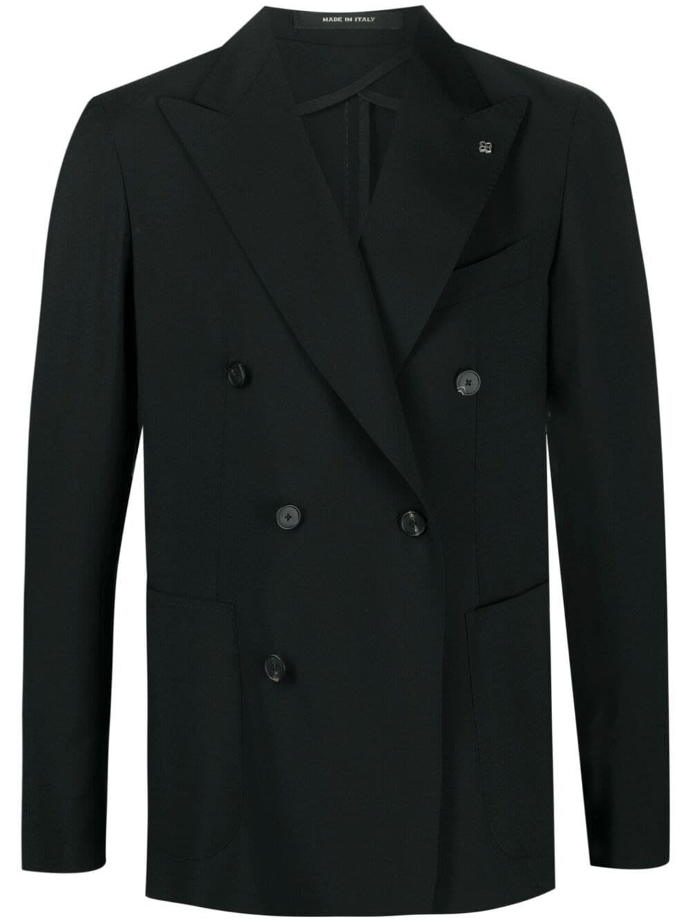 Tagliatore DOUBLE-BREASTED JACKET IN BLACK WOOL