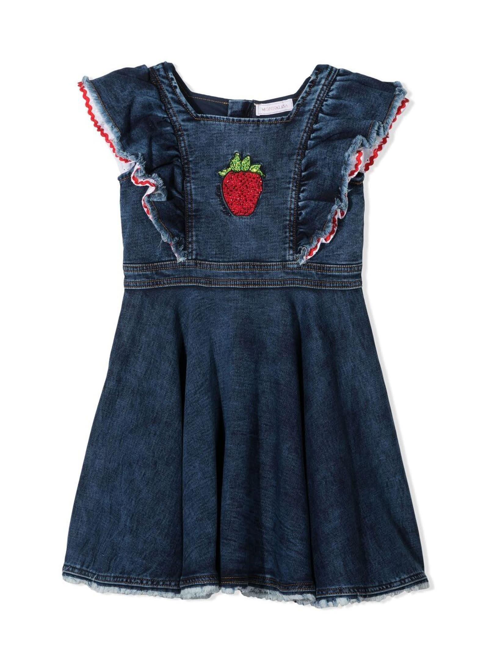 Buy Monnalisa Blue Denim Cotton-blend Dress online, shop Monnalisa with free shipping