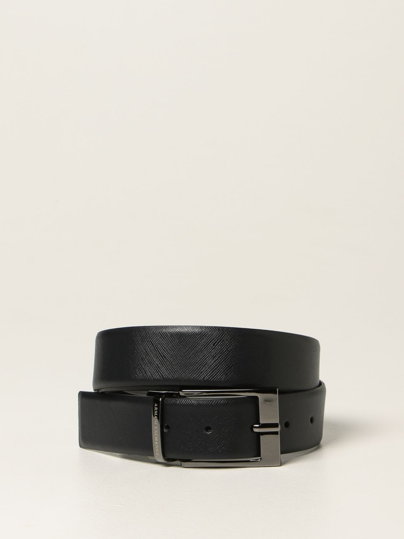 Armani Exchange Belt Armani Exchange Reversible Belt In Saffiano Leather