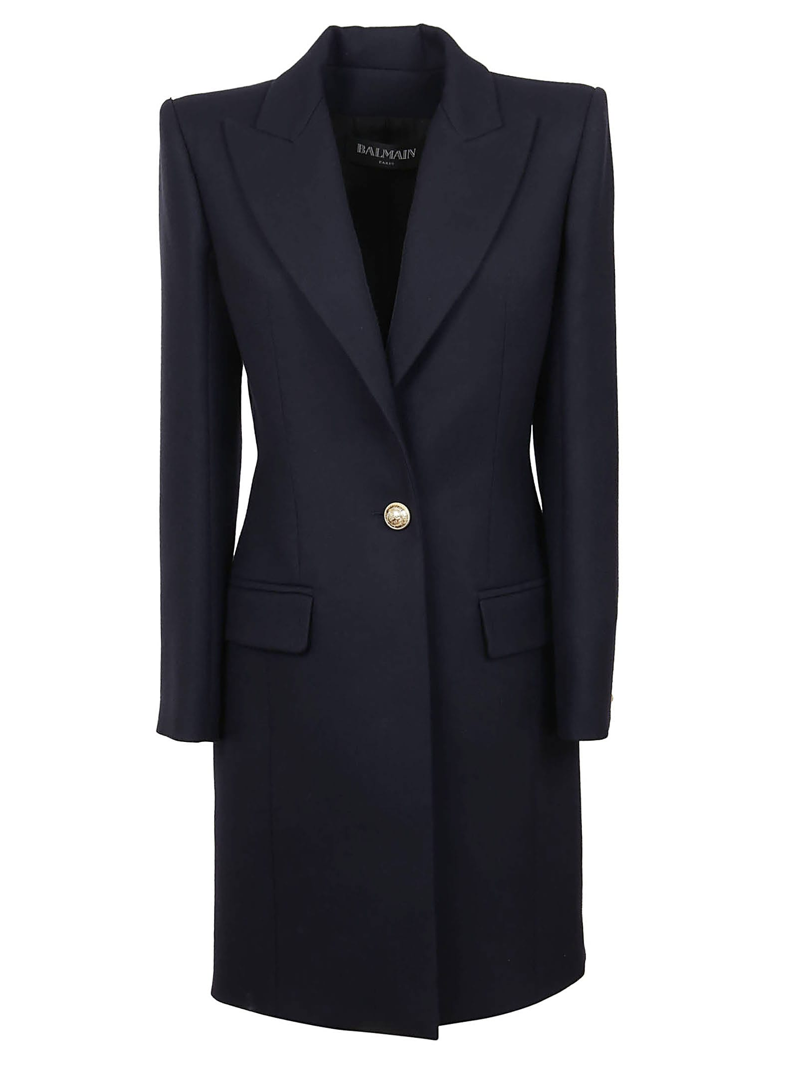 Balmain One Button Wool Coat
