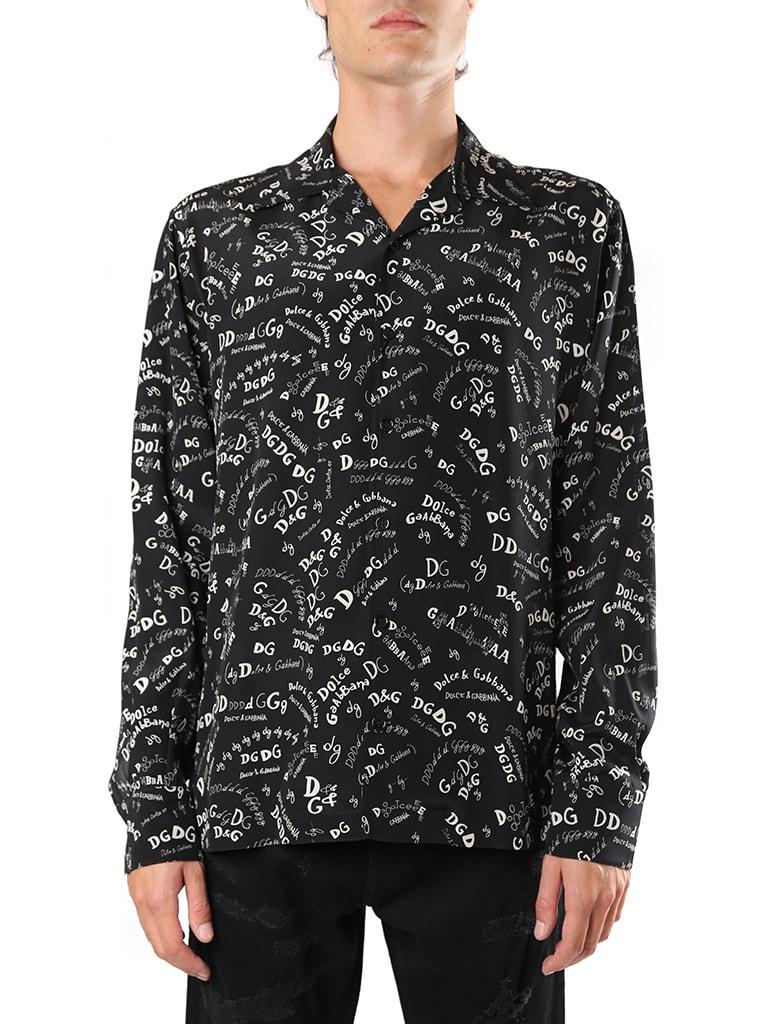 Dolce & Gabbana Black Hawaii Silk Shirt