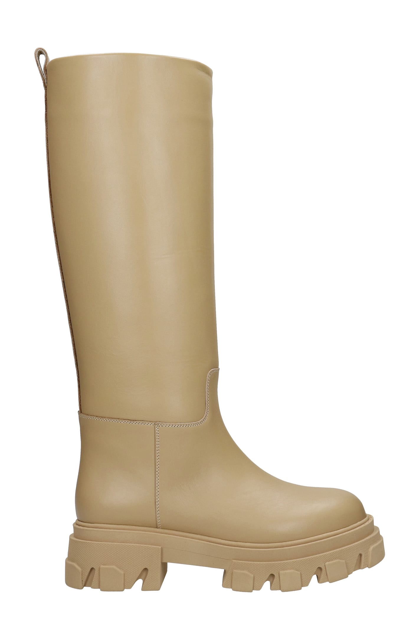 Perni 07 Low Heels Boots In Beige Leather