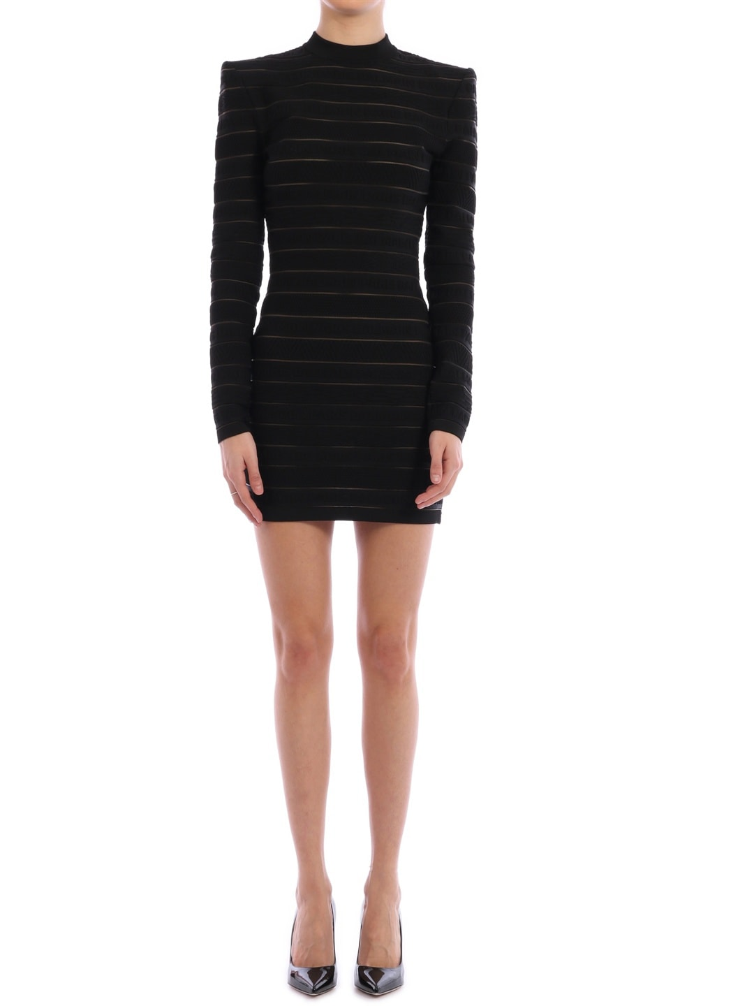 Buy Balmain Mini Dress With Logo Stripes online, shop Balmain with free shipping