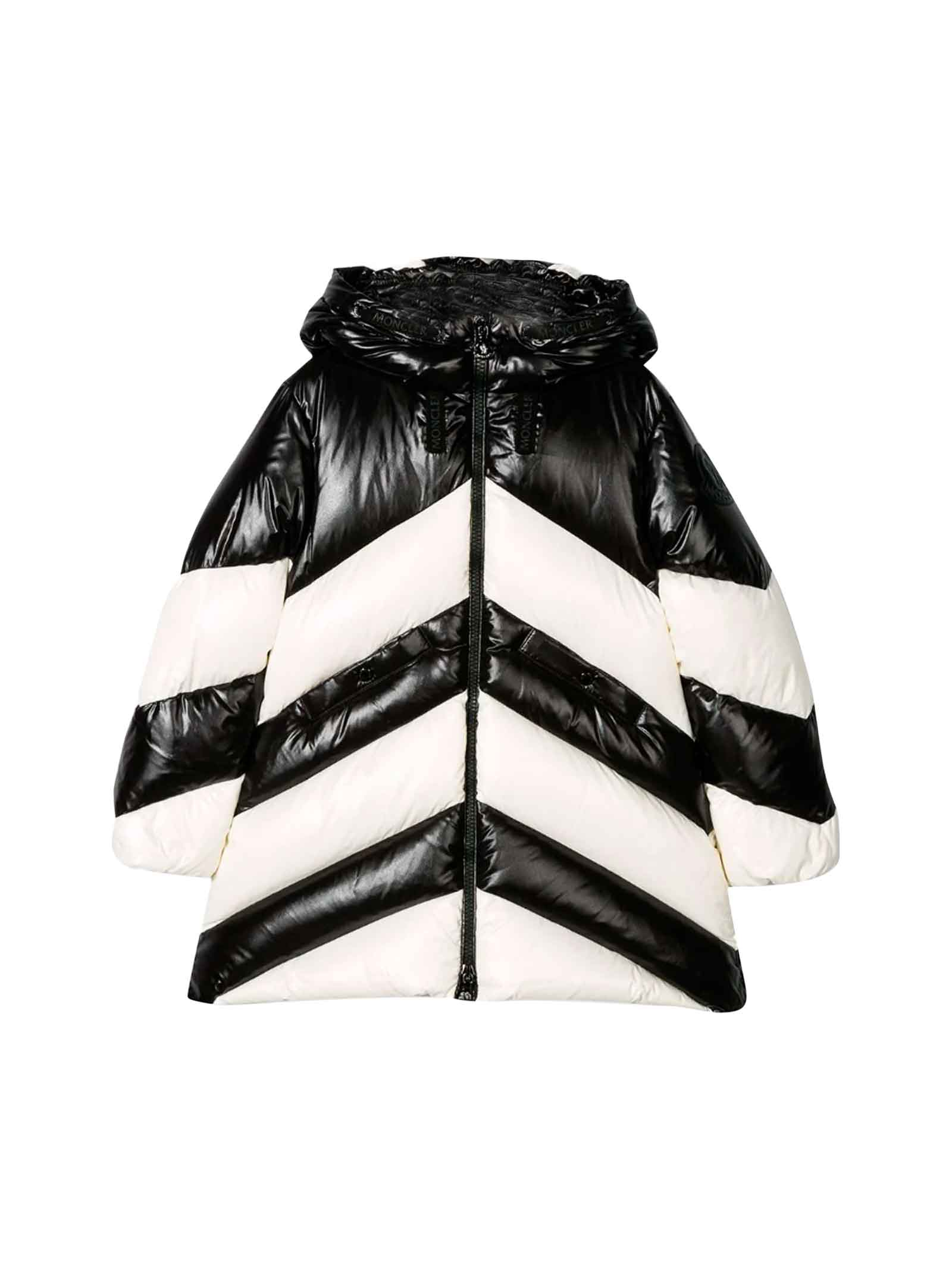 Moncler Kids' White And Black Down Jacket In Bianco/Nero