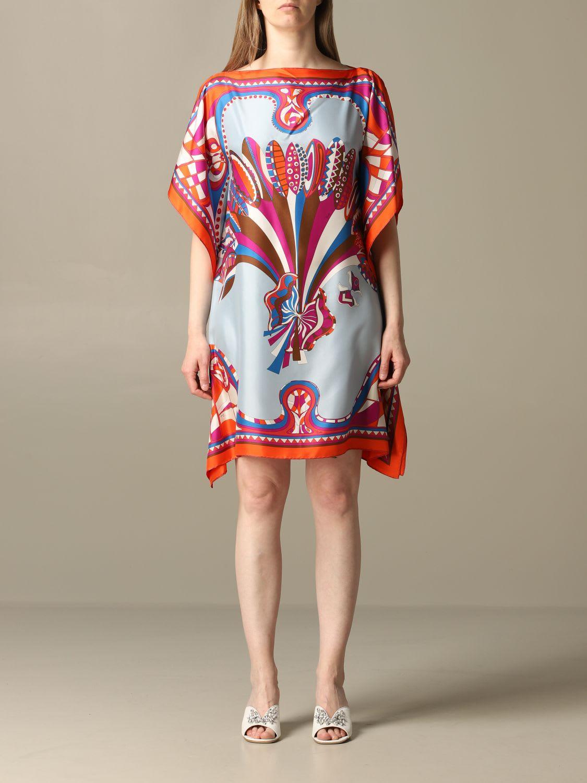Buy Emilio Pucci Dress Emilio Pucci Kaftan Dress With Corisco Pattern online, shop Emilio Pucci with free shipping