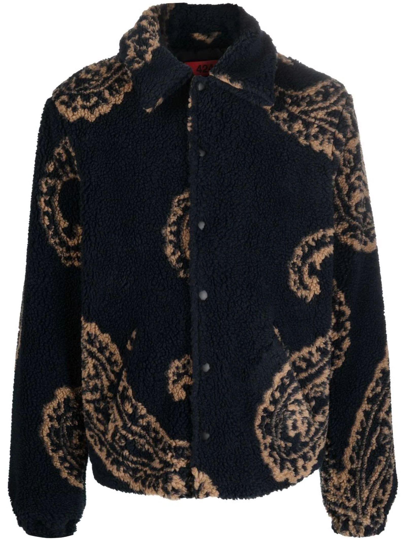 Navy-blue Faux-shearling Jacket