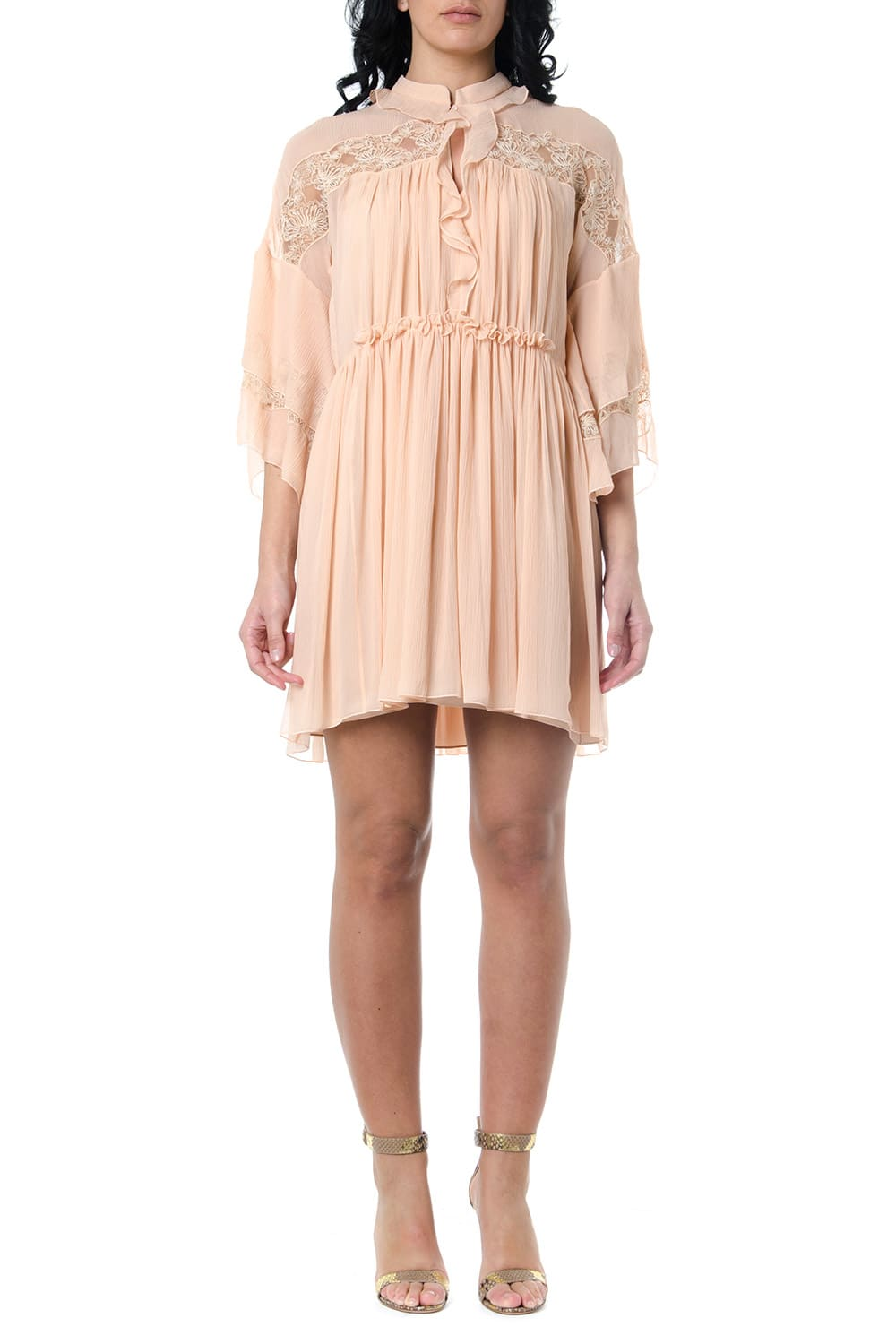Buy Chloé Maple Pink Flared Dress With Lace Insert online, shop Chloé with free shipping