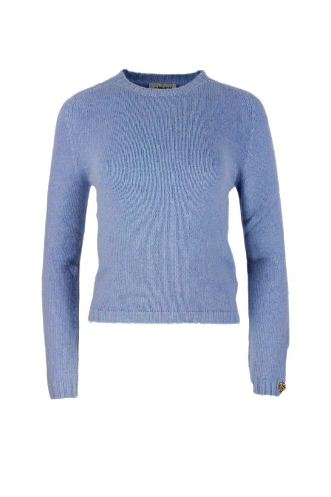 Wool Sweater With Round Neck And Long Sleeves With Ribbed Knit On The Neck