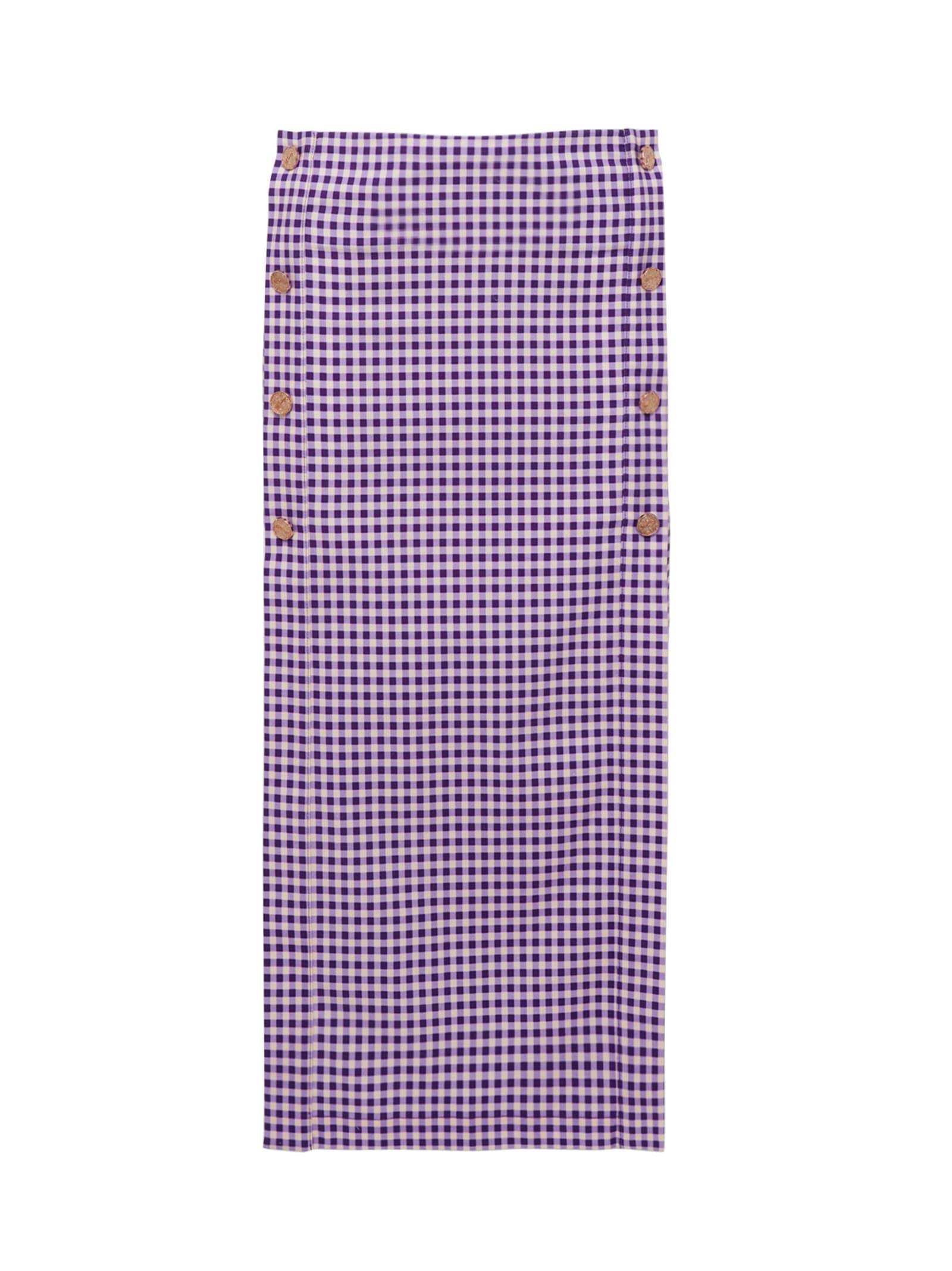 Vichy Houndstooth Cotton-twill Midi Skirt