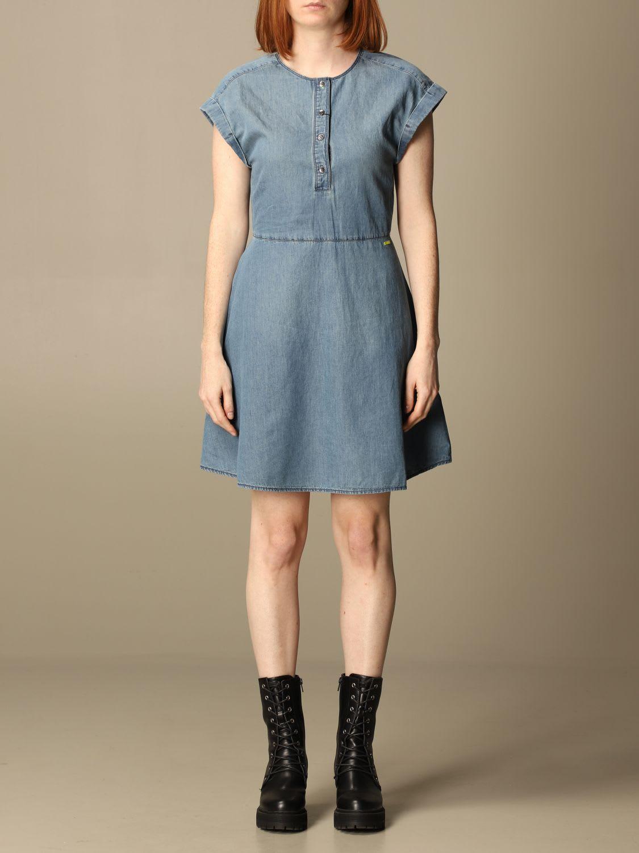 Buy Armani Exchange Dress Armani Exchange Short Denim Dress online, shop Armani Collezioni with free shipping