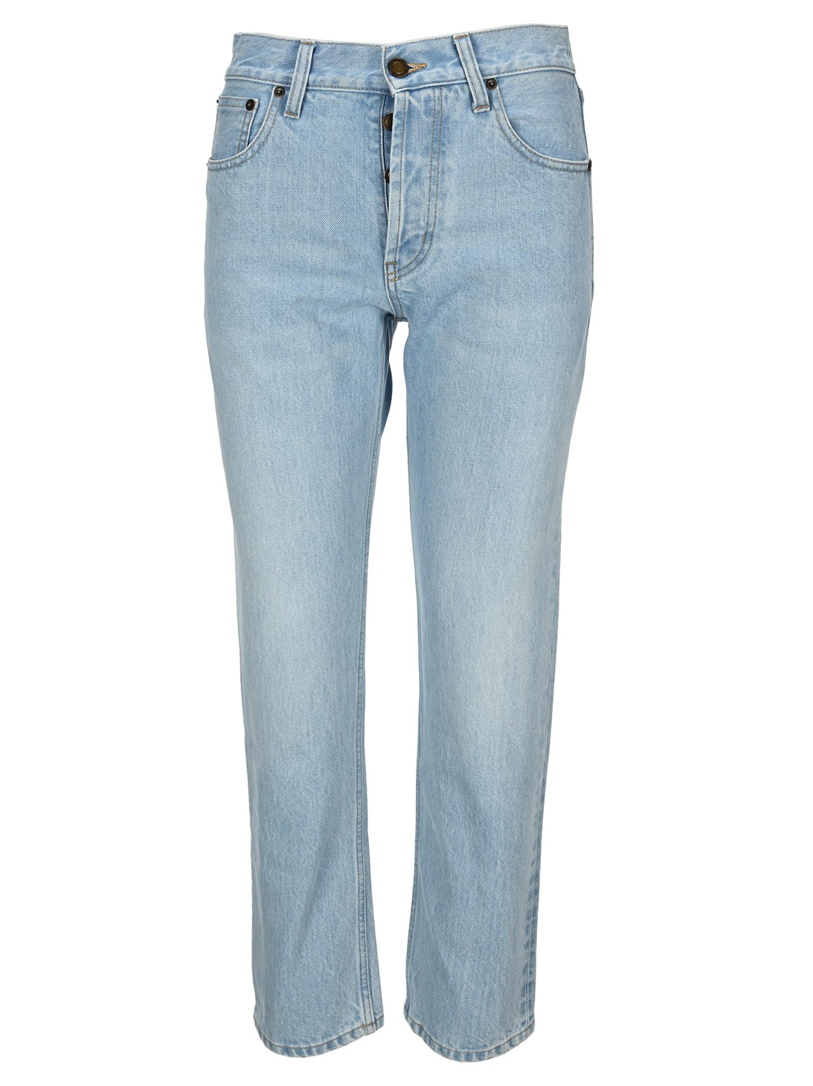 Saint Laurent Faded Straight-leg Jeans In Basic Blue