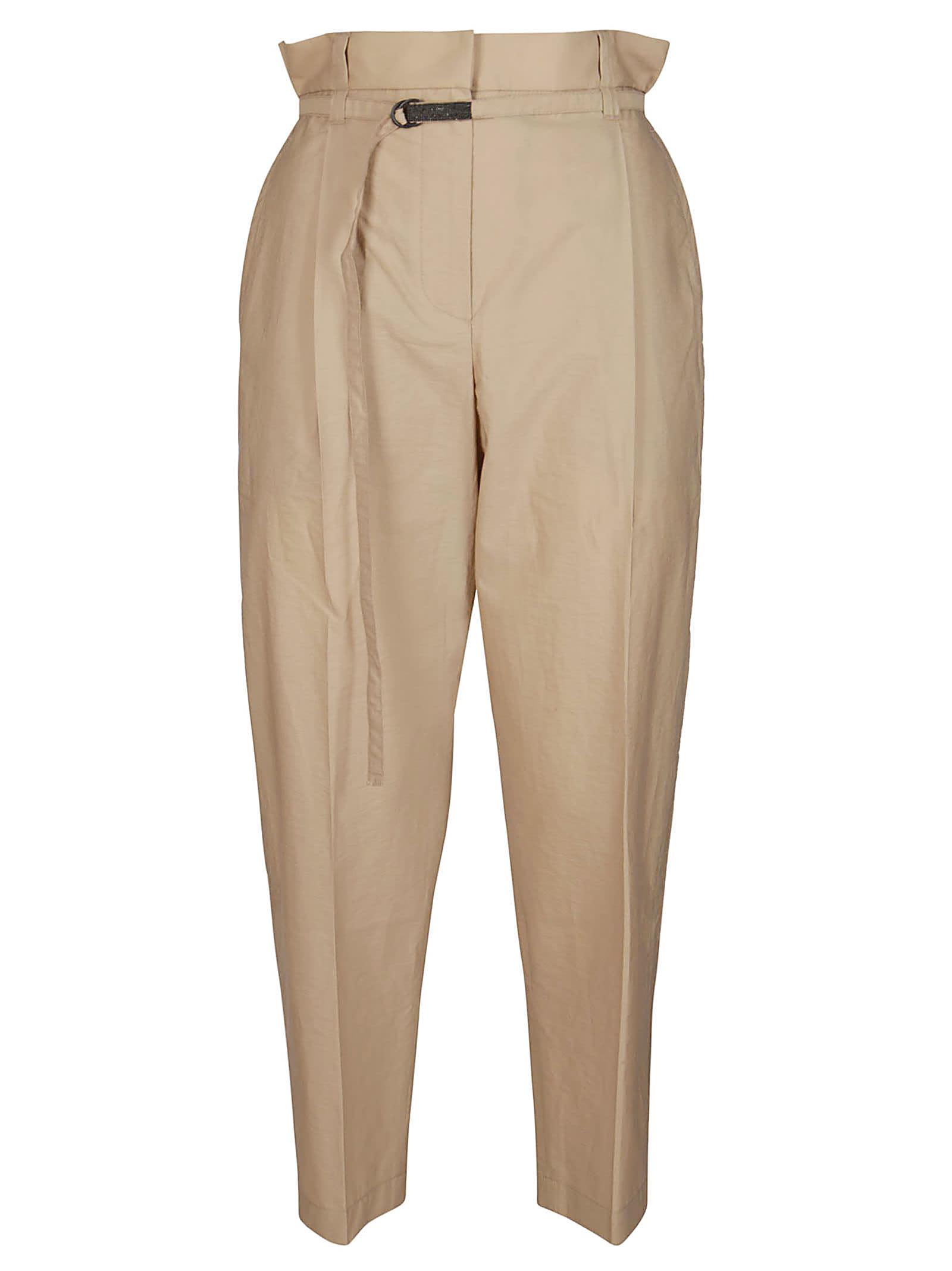 Beige Cotton Blend Trousers Brunello Cucinelli
