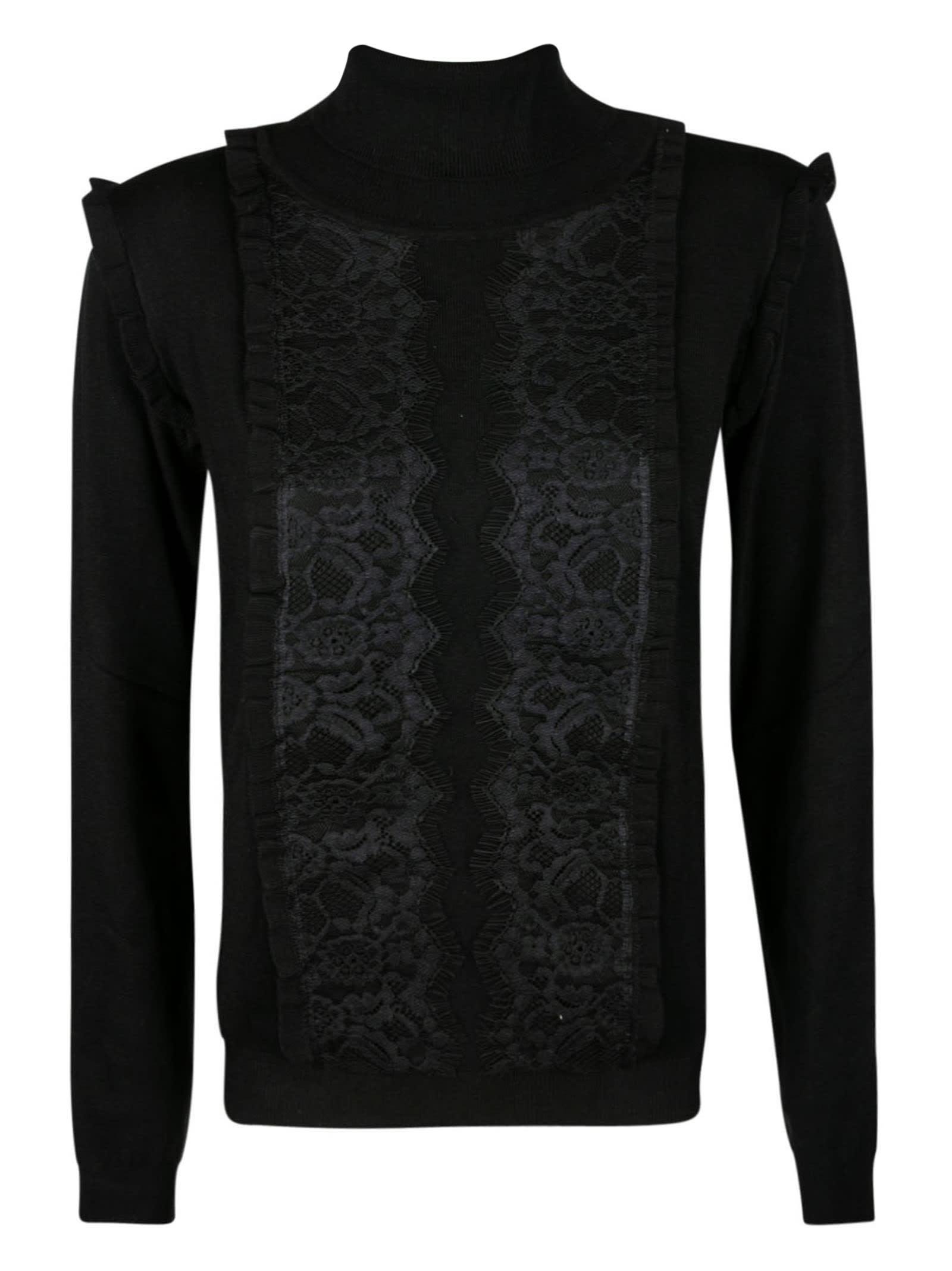 Ruffle Trimmed Turtleneck Sweater