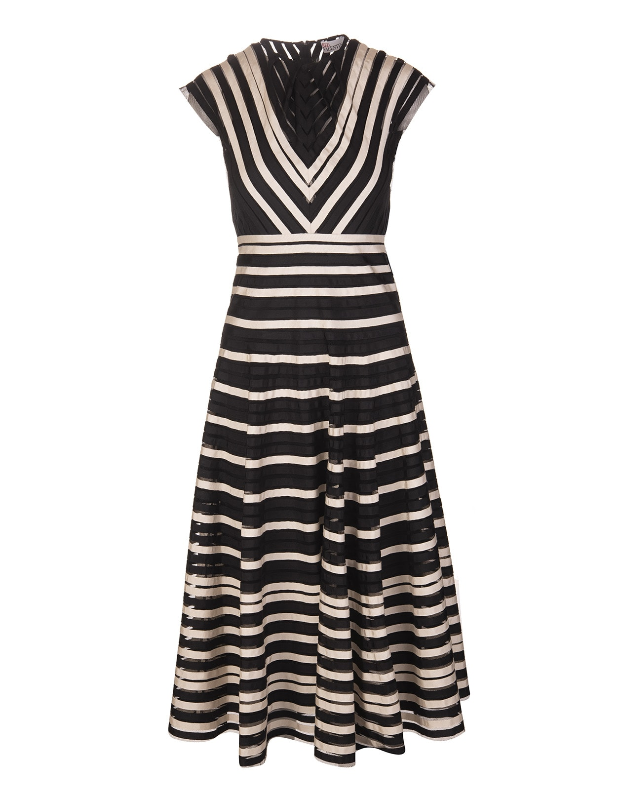 Buy Black Striped Tulle Dress online, shop RED Valentino with free shipping