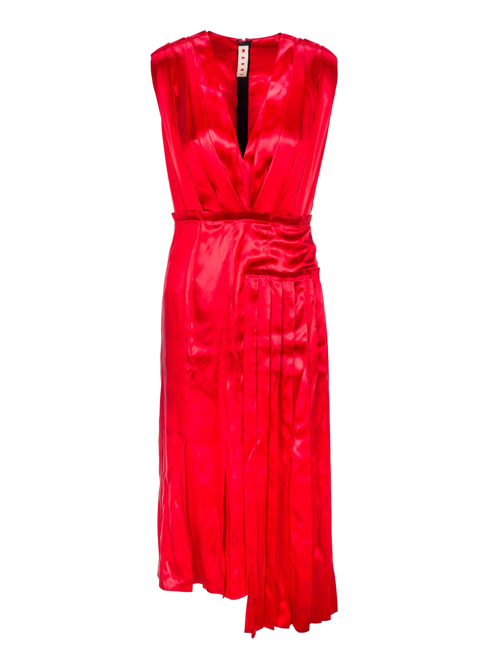 Buy Marni V-neck Satin Dress online, shop Marni with free shipping