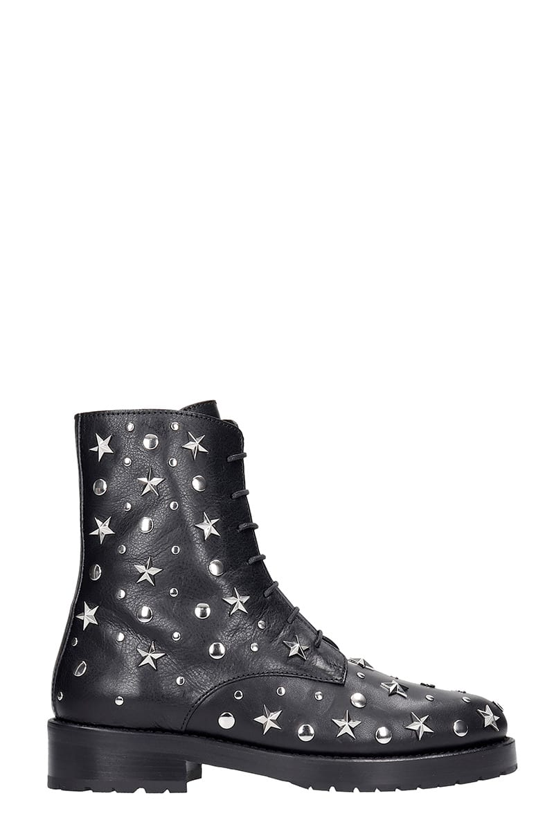 RED Valentino Combat Boots In Black Leather