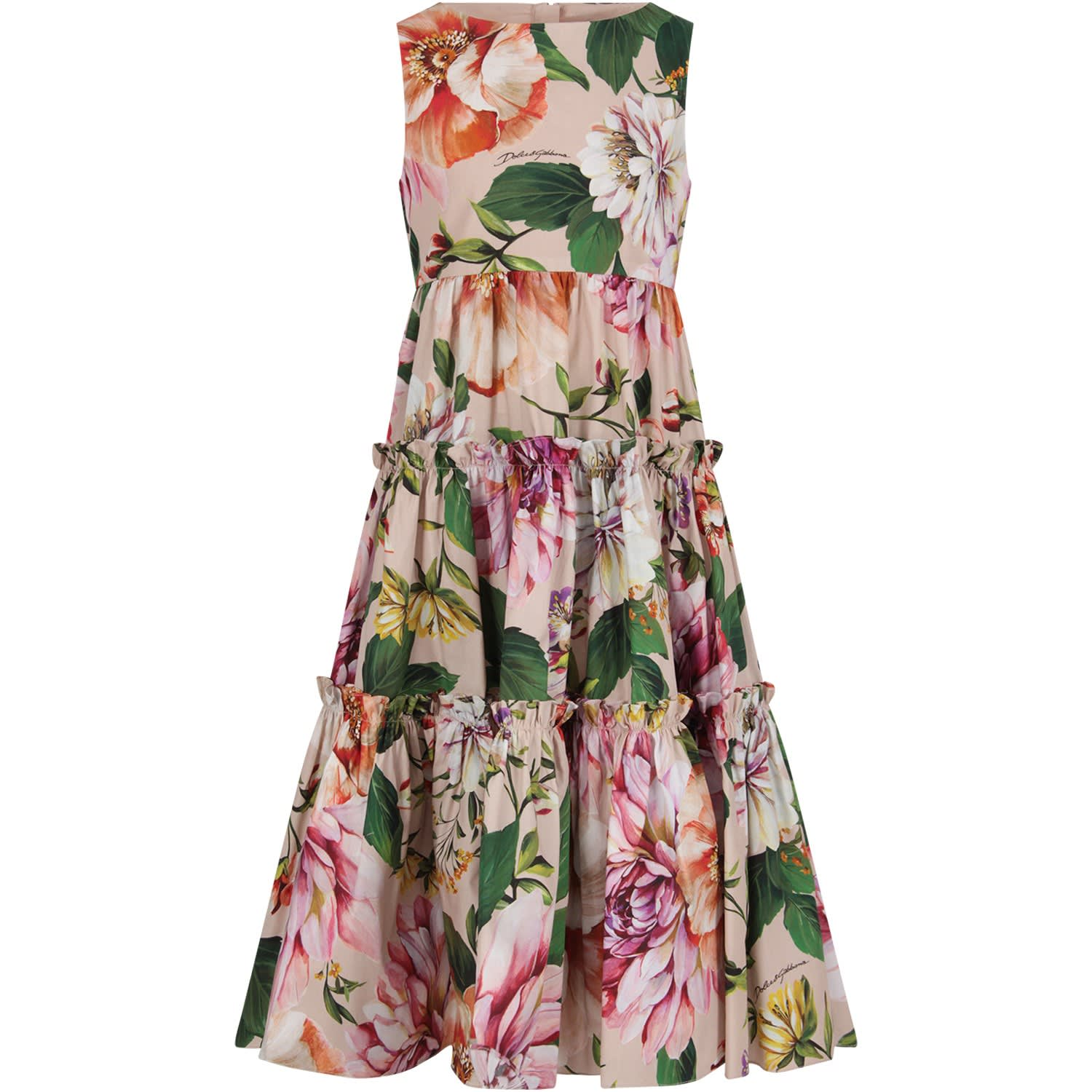 Buy Dolce & Gabbana Pink Girl Dress With Colorful Flowers online, shop Dolce & Gabbana with free shipping