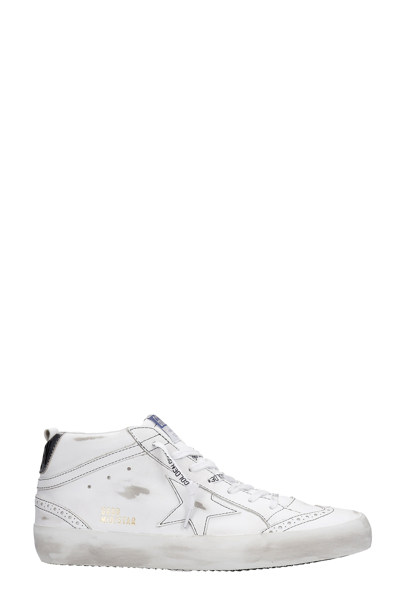 Golden Goose MID STAR SNEAKERS IN WHITE LEATHER