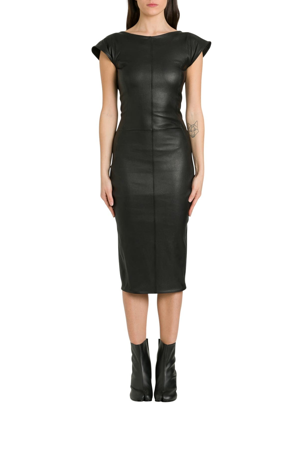 Buy Rick Owens Sarah Leather Dress With Back Neckline online, shop Rick Owens with free shipping