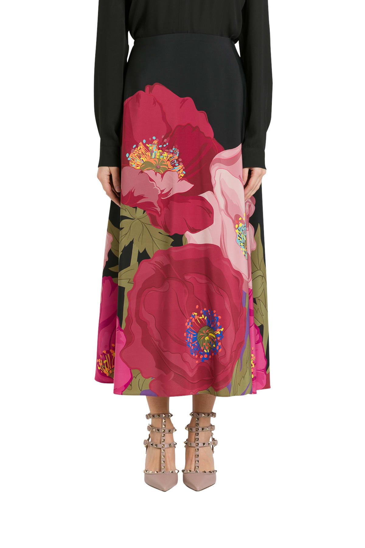 Valentino Printed Crepe De Chine Skirt With Macro Poppy Print