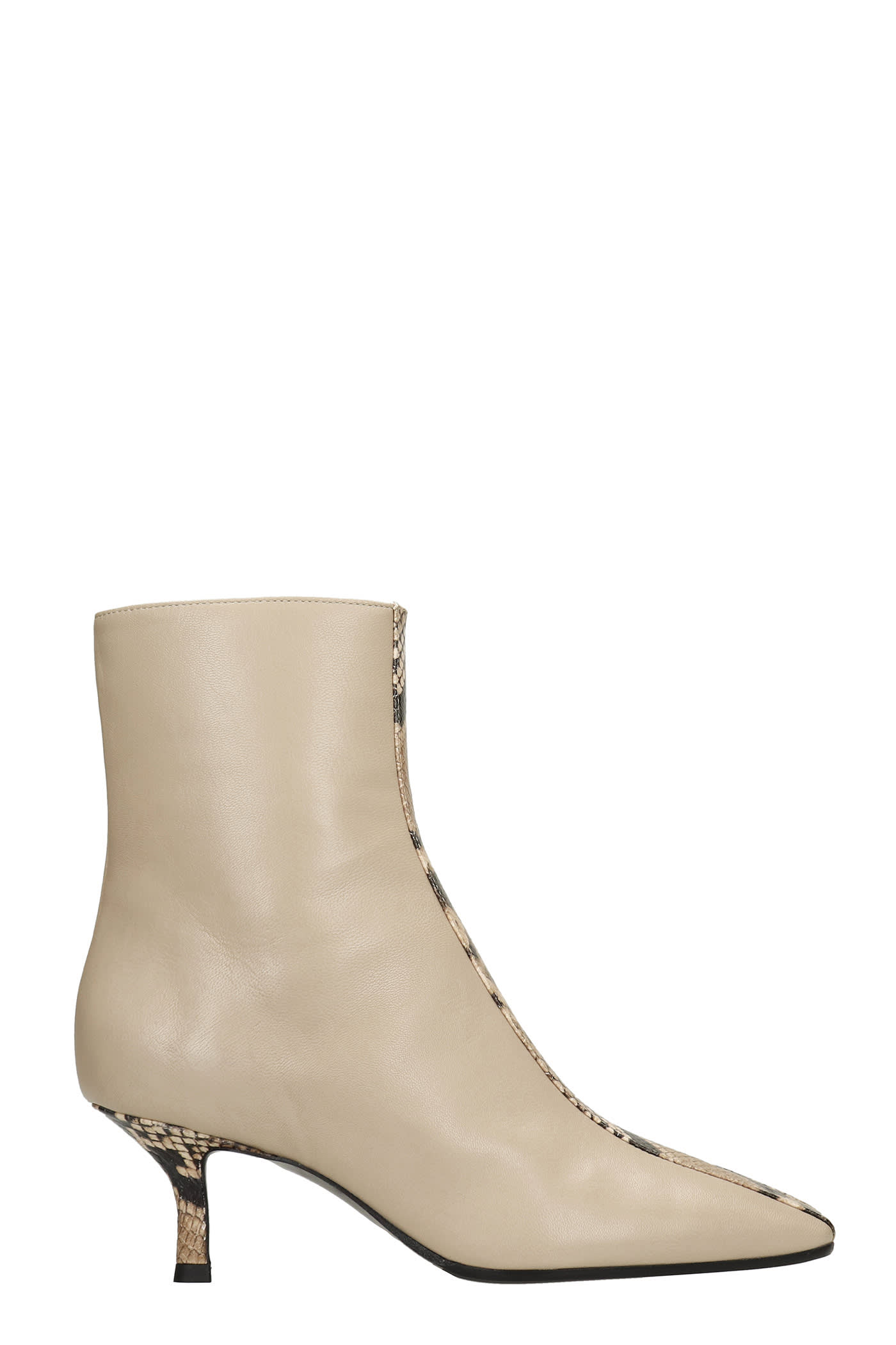 High Heels Ankle Boots In Beige Leather And Printed Pyton
