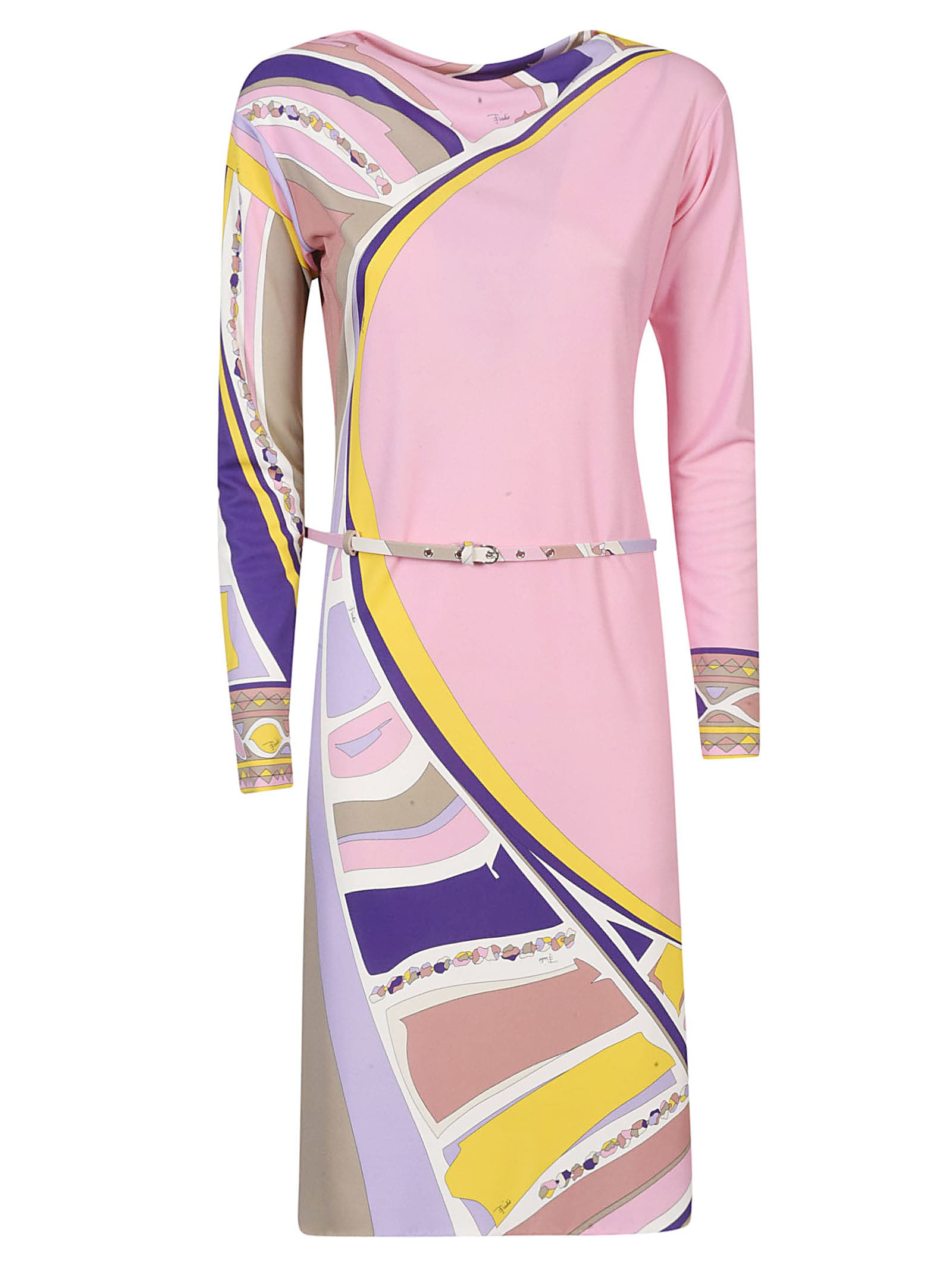 Buy Emilio Pucci Belted Printed Dress online, shop Emilio Pucci with free shipping