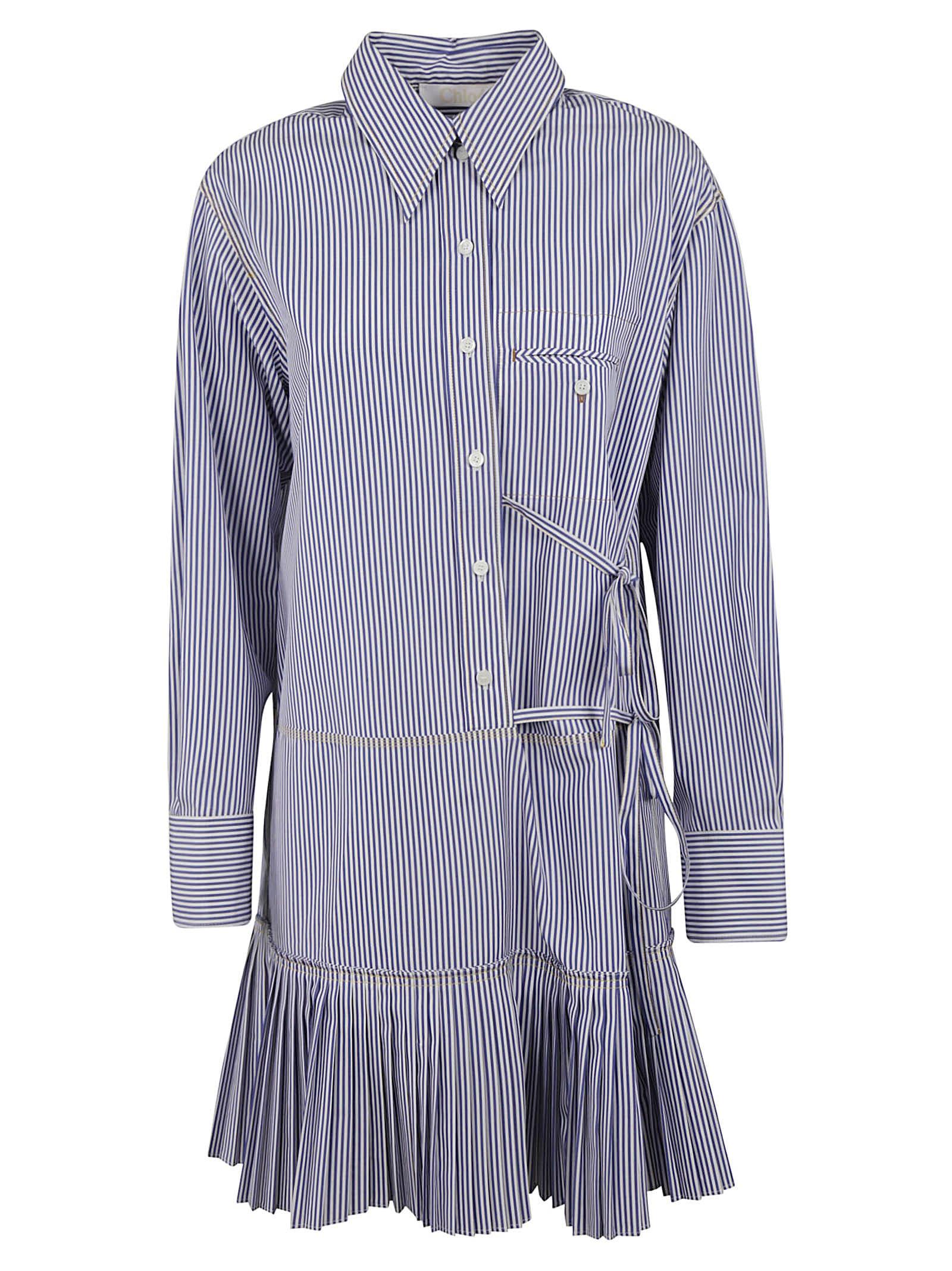 Buy Chloé Stripe Print Pleated Skirt Dress online, shop Chloé with free shipping