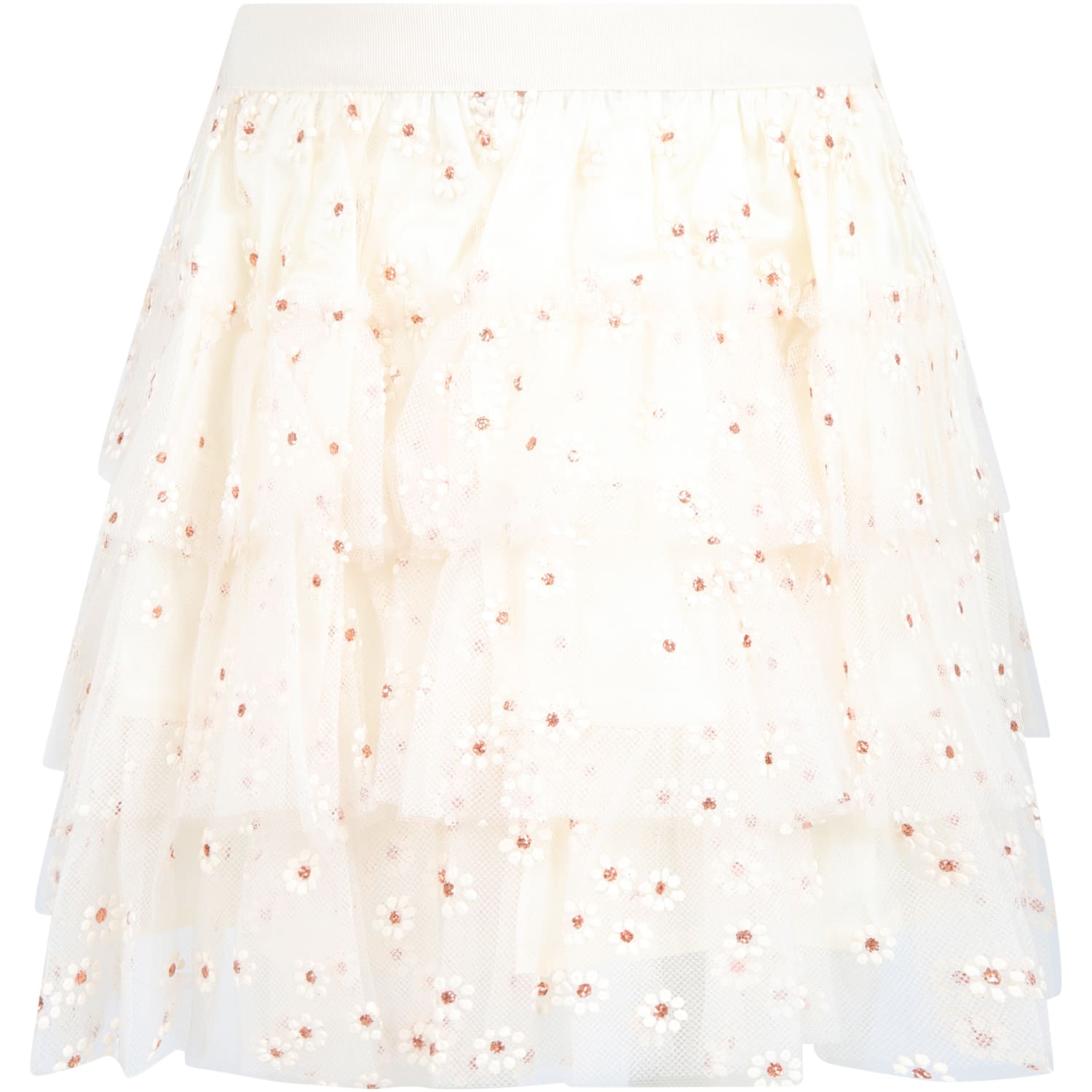 Ivory Skirt For Girl With Flowers