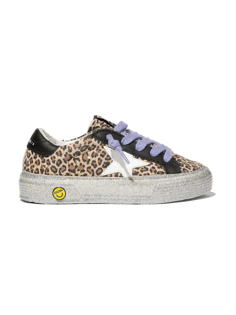 Golden Goose Junior Leopard May Sneakers With Lilac Laces And Silver Glittered Sole