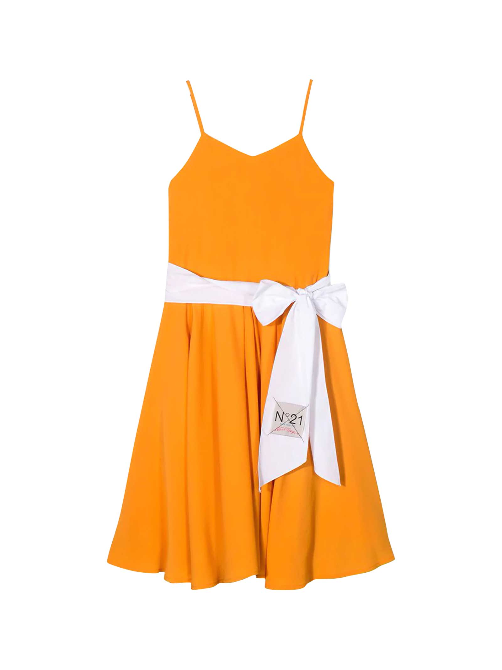 Buy N.21 Orange Teen Dress With White Band N21 Kids online, shop N.21 with free shipping