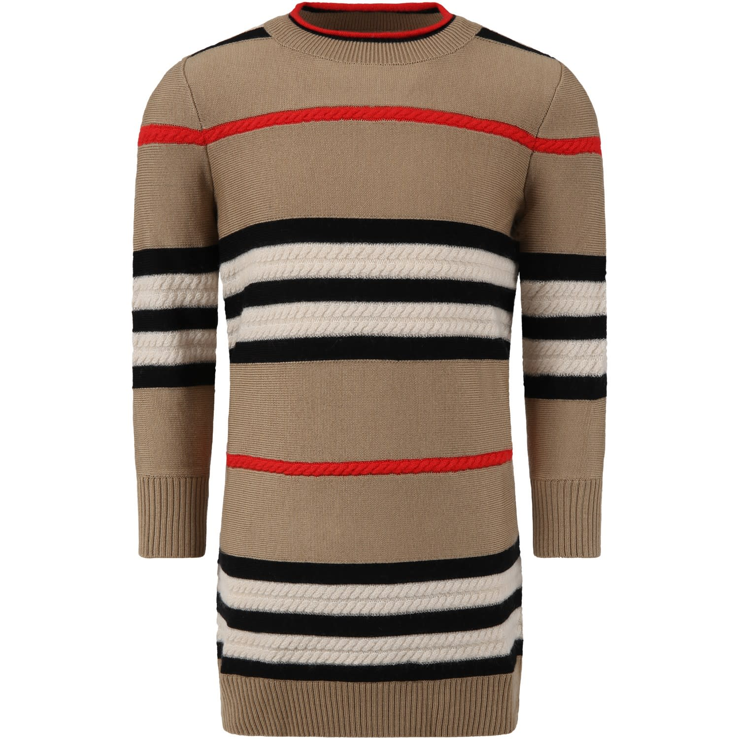 Burberry Beige Dress For Girl With Stripes