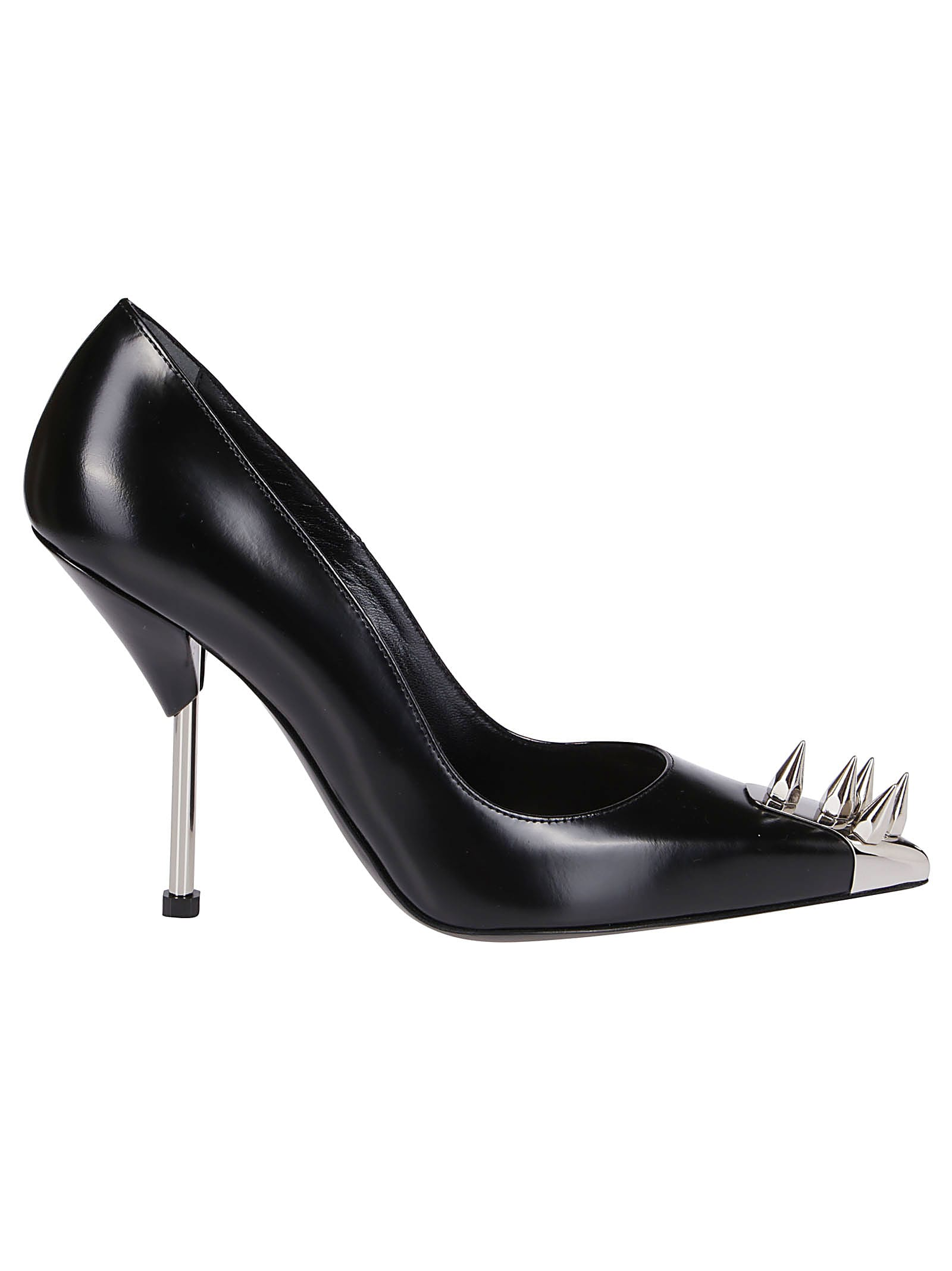 Buy Alexander McQueen Black Leather Punk Stud Pumps online, shop Alexander McQueen shoes with free shipping