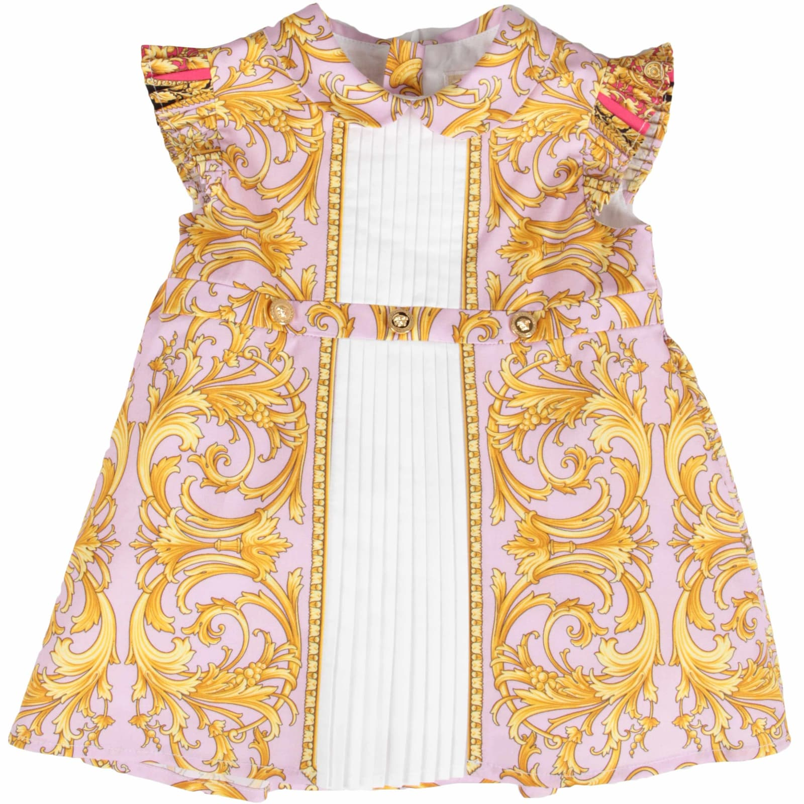 Buy Versace Lilac And White Babygirl Dress With Iconic Medusa online, shop Versace with free shipping