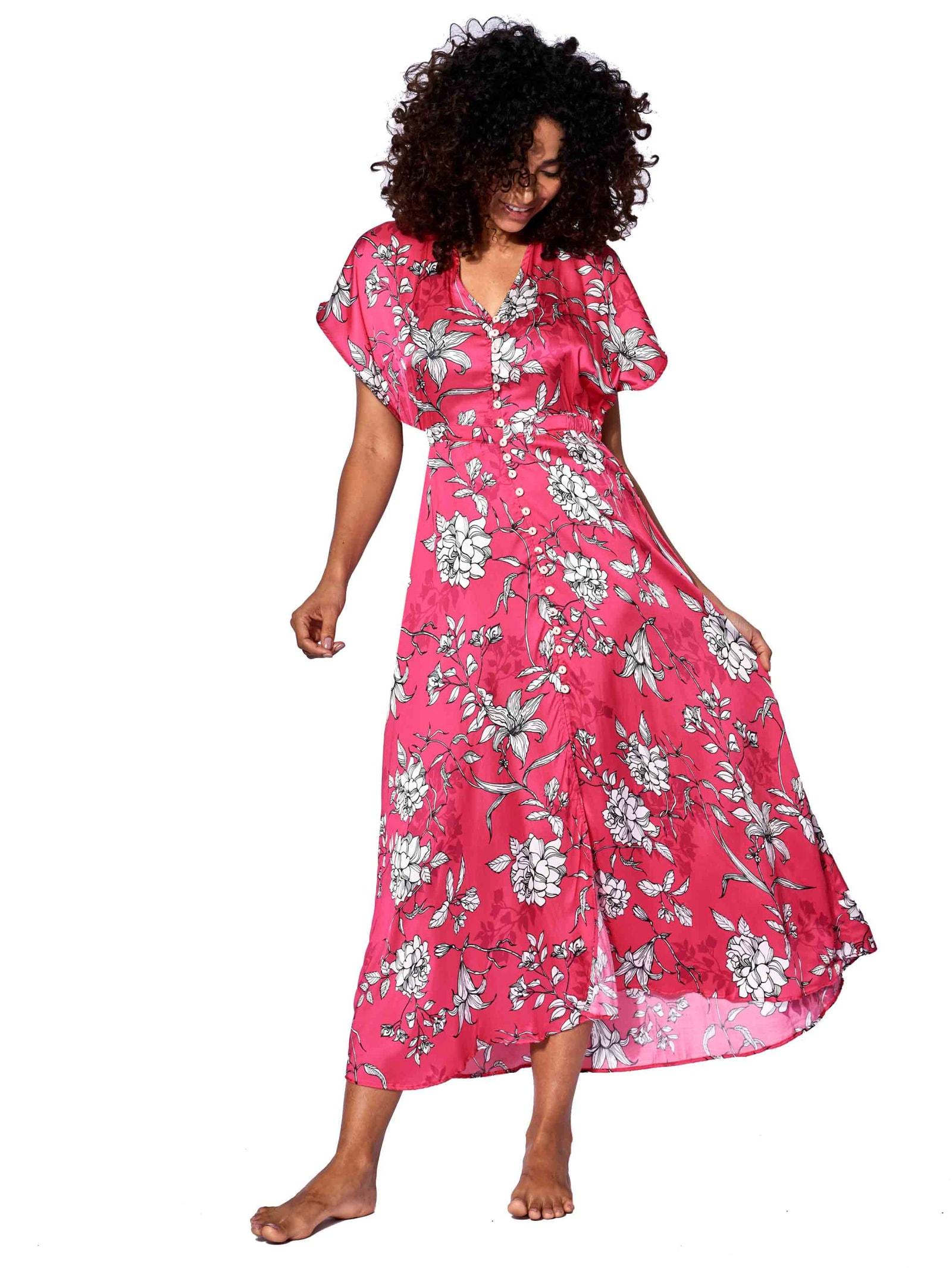 Buy MC2 Saint Barth White Flowers Print Red Long Dress online, shop MC2 Saint Barth with free shipping