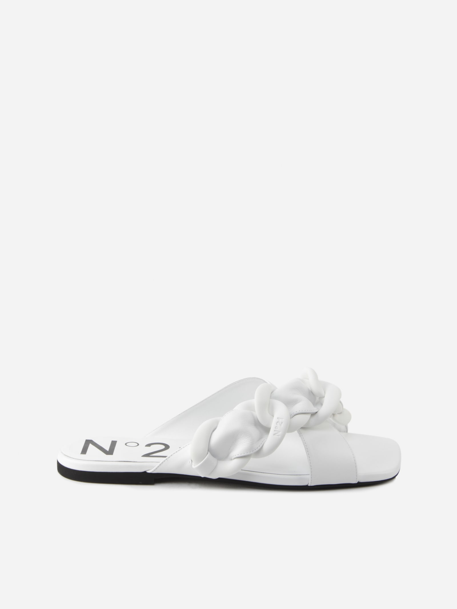 Buy N.21 Slip-on Sandals With Oversized Woven Leather Chain online, shop N.21 shoes with free shipping