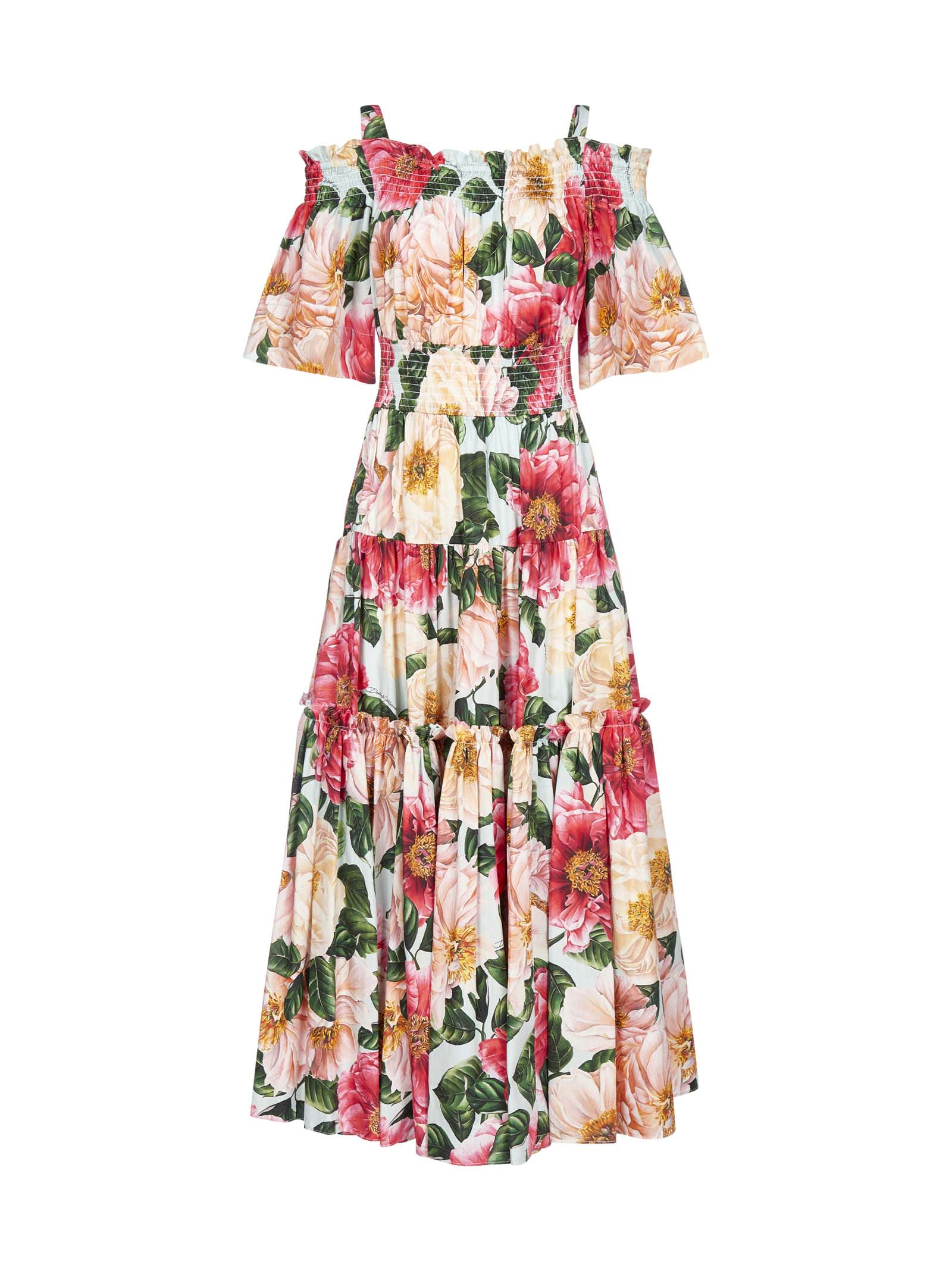 Buy Dolce & Gabbana Camellia-print Cotton Tiered Dress online, shop Dolce & Gabbana with free shipping