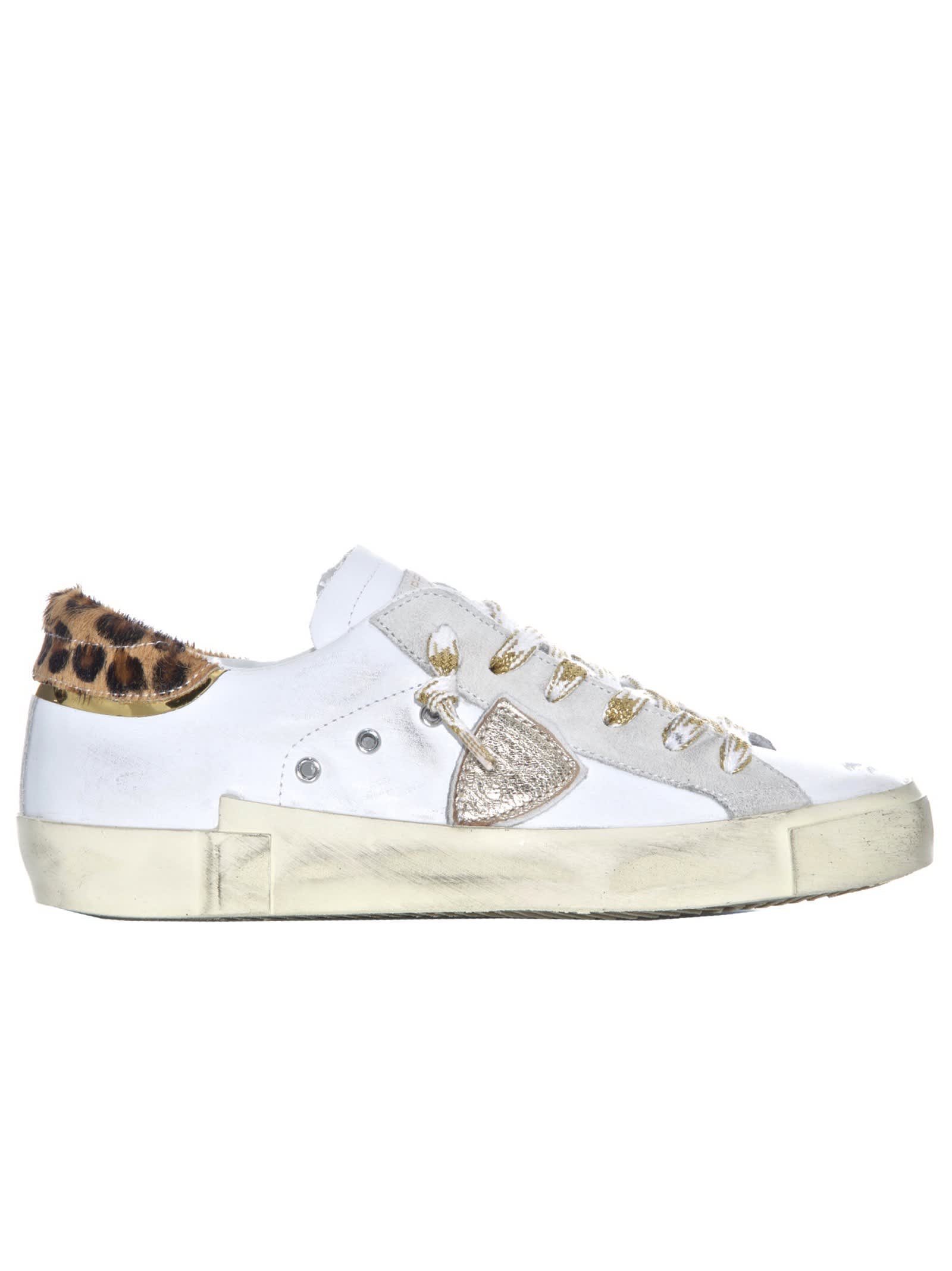Philippe Model WHITE/LEOPARD LEATHER SNEAKERS