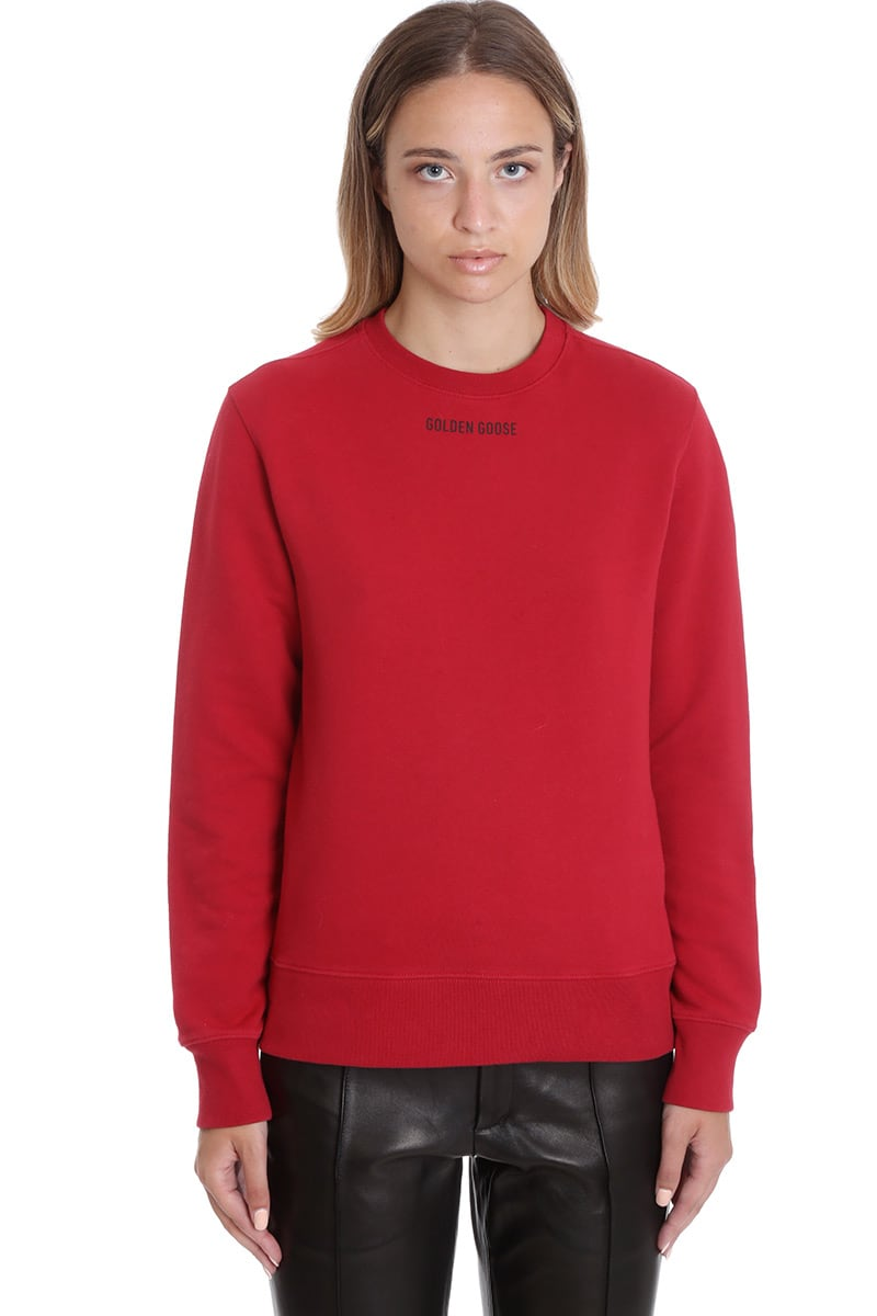 GOLDEN GOOSE ATHENA SWEATSHIRT IN RED COTTON