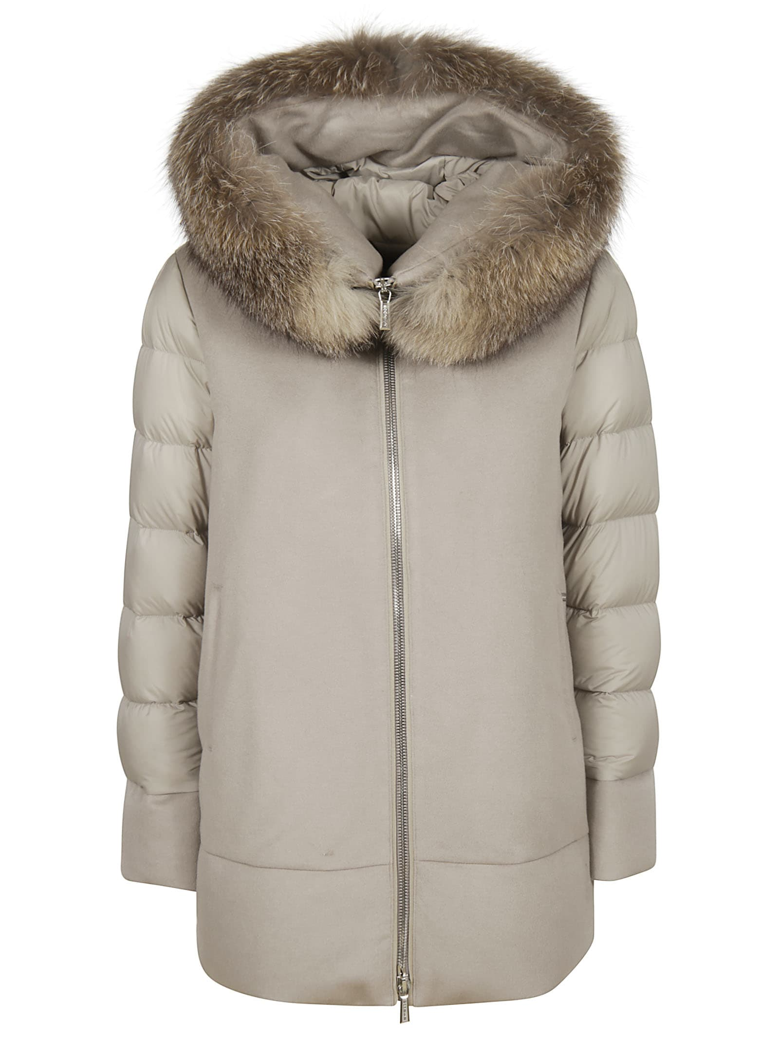 Moorer Fresia-le Large Furry Hood Zipped Parka