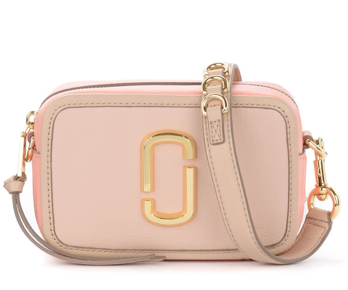 Marc Jacobs Leathers THE MARC JACOBS SOFTSHOT 17 SHOULDER BAG IN BEIGE AND PINK LEATHER