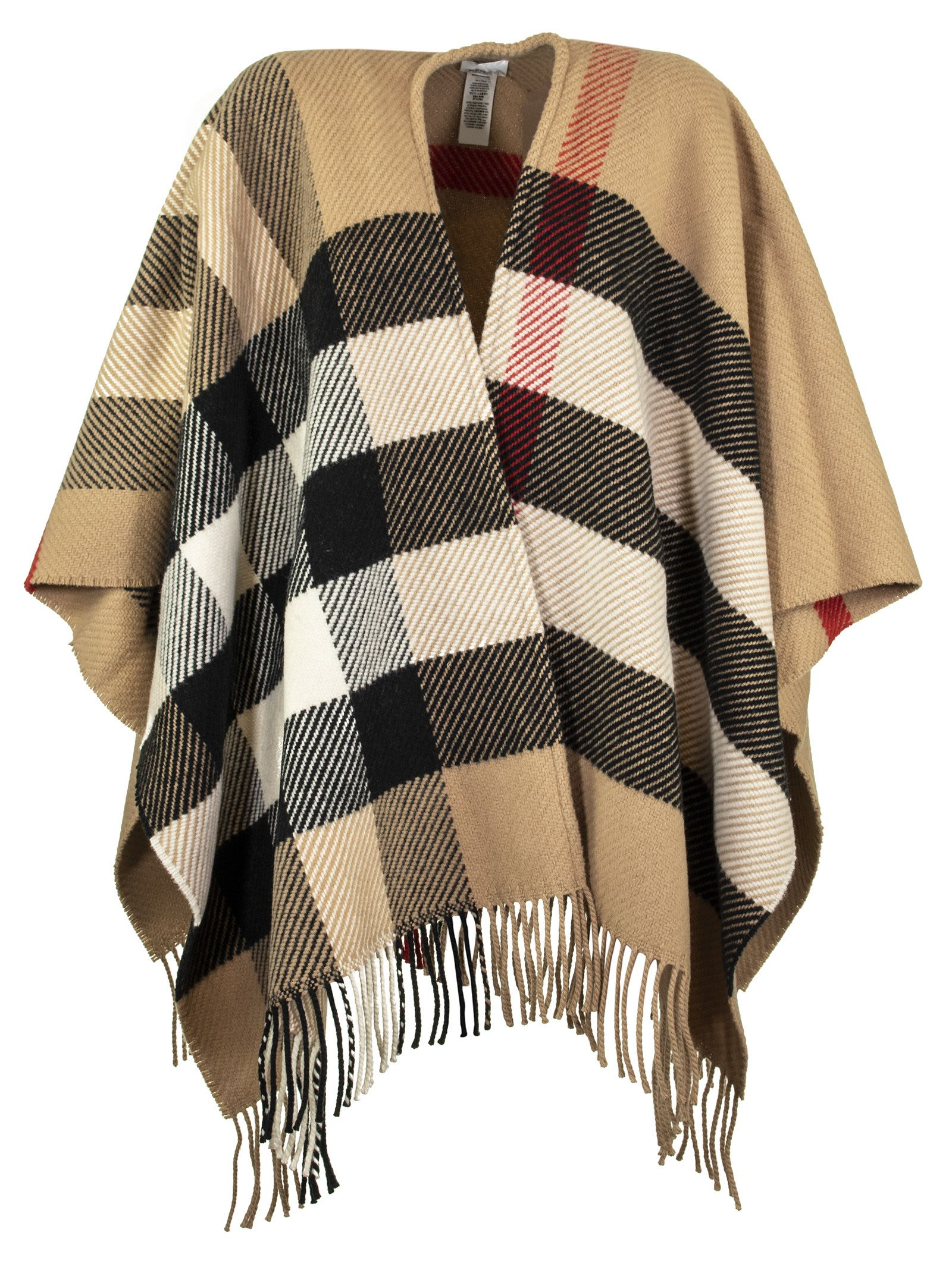 Photo of  Burberry Check Wool Cashmere Cape- shop Burberry jackets online sales
