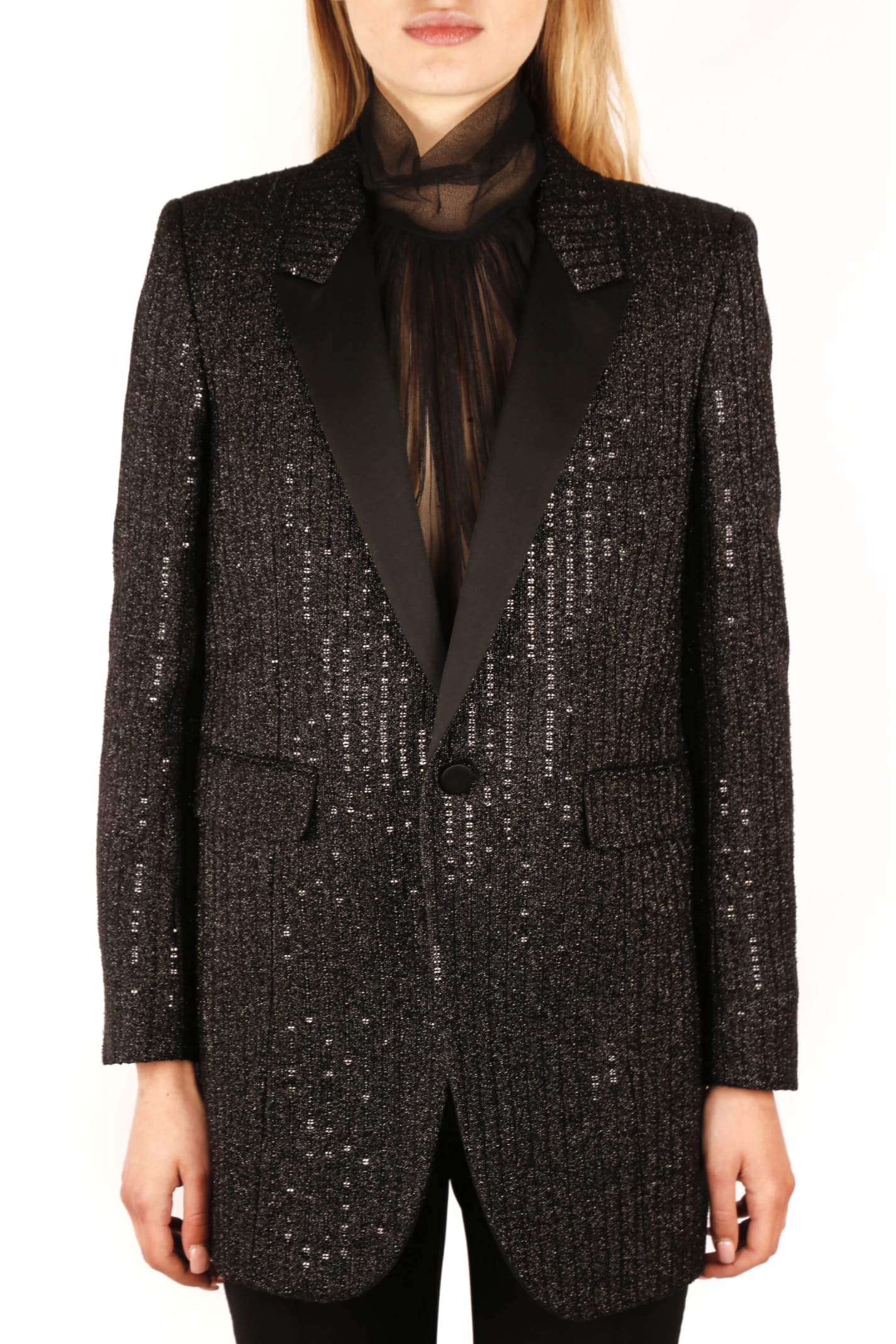 Saint Laurent Black Silk Sequined Blazer