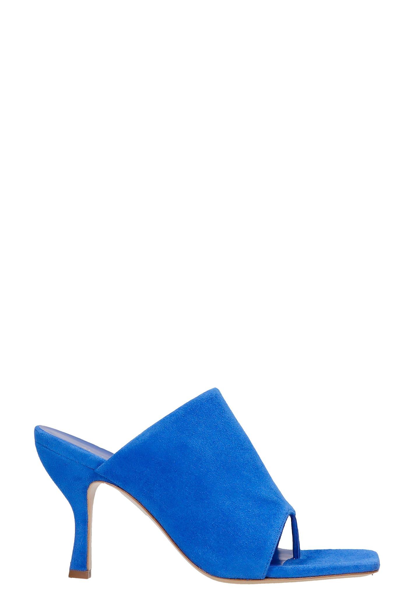 Perni Sandals In Blue Suede