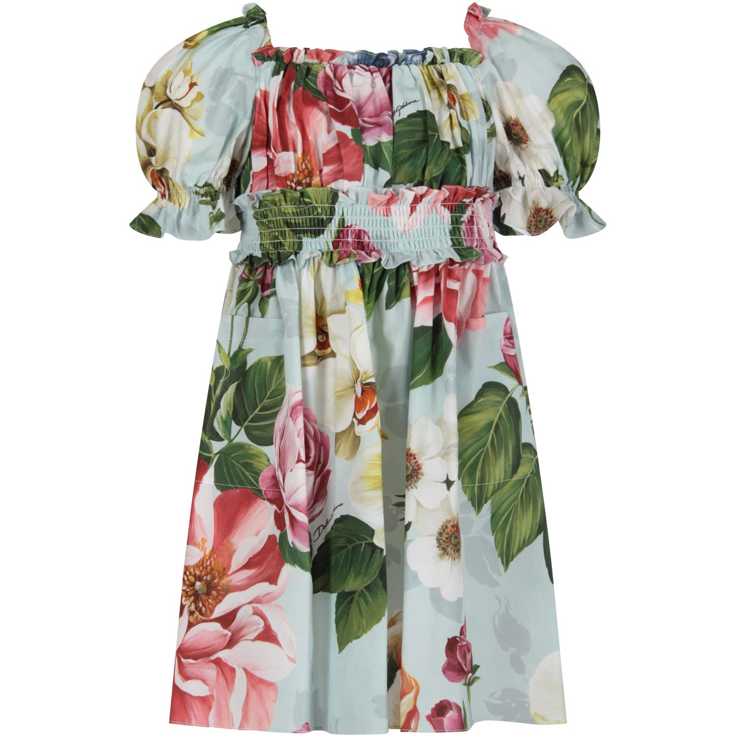 Buy Dolce & Gabbana Light Blue Girl Dress With Colorful Flowers online, shop Dolce & Gabbana with free shipping