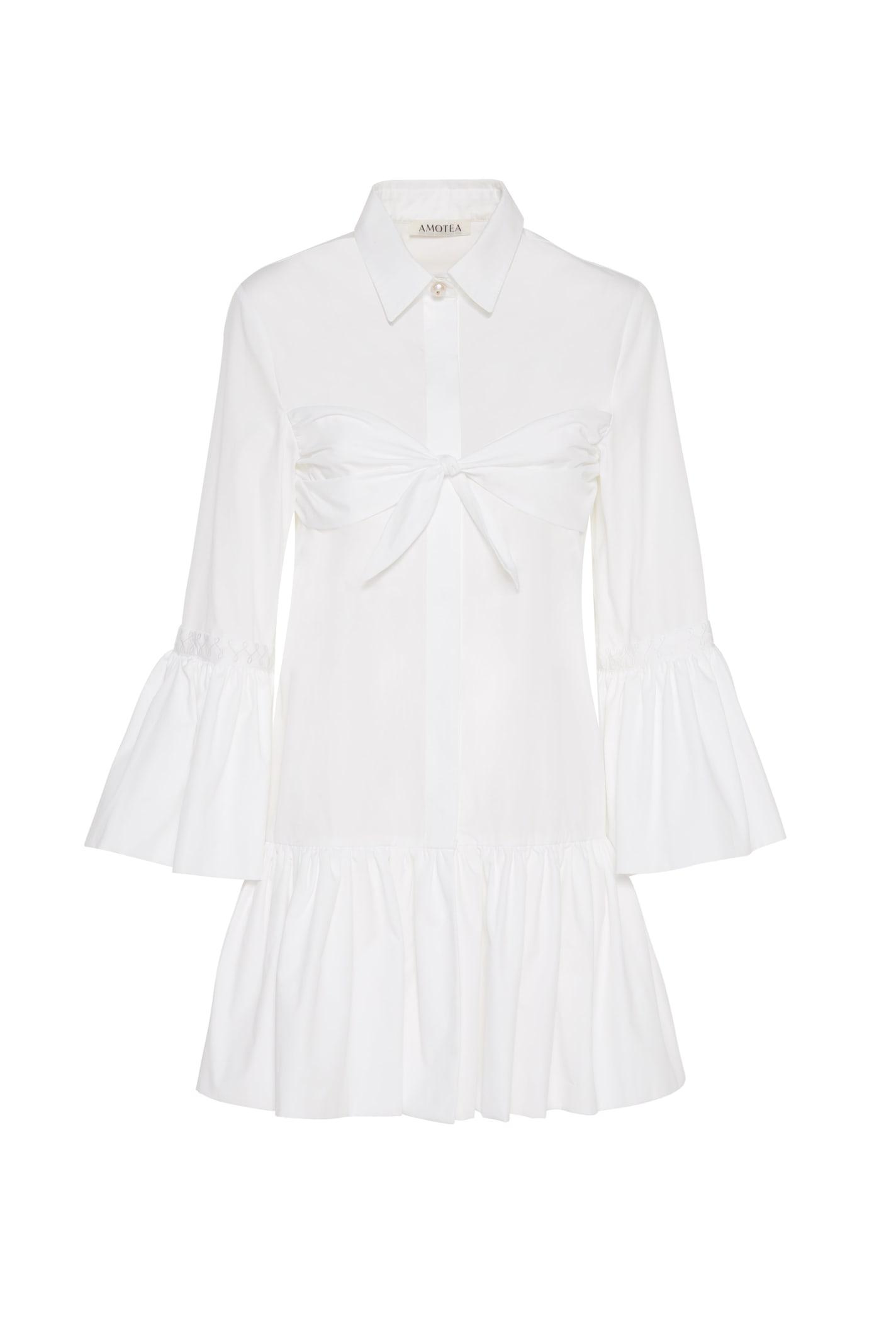 Buy Amotea Nina Mini Dress In White Poplin online, shop Amotea with free shipping