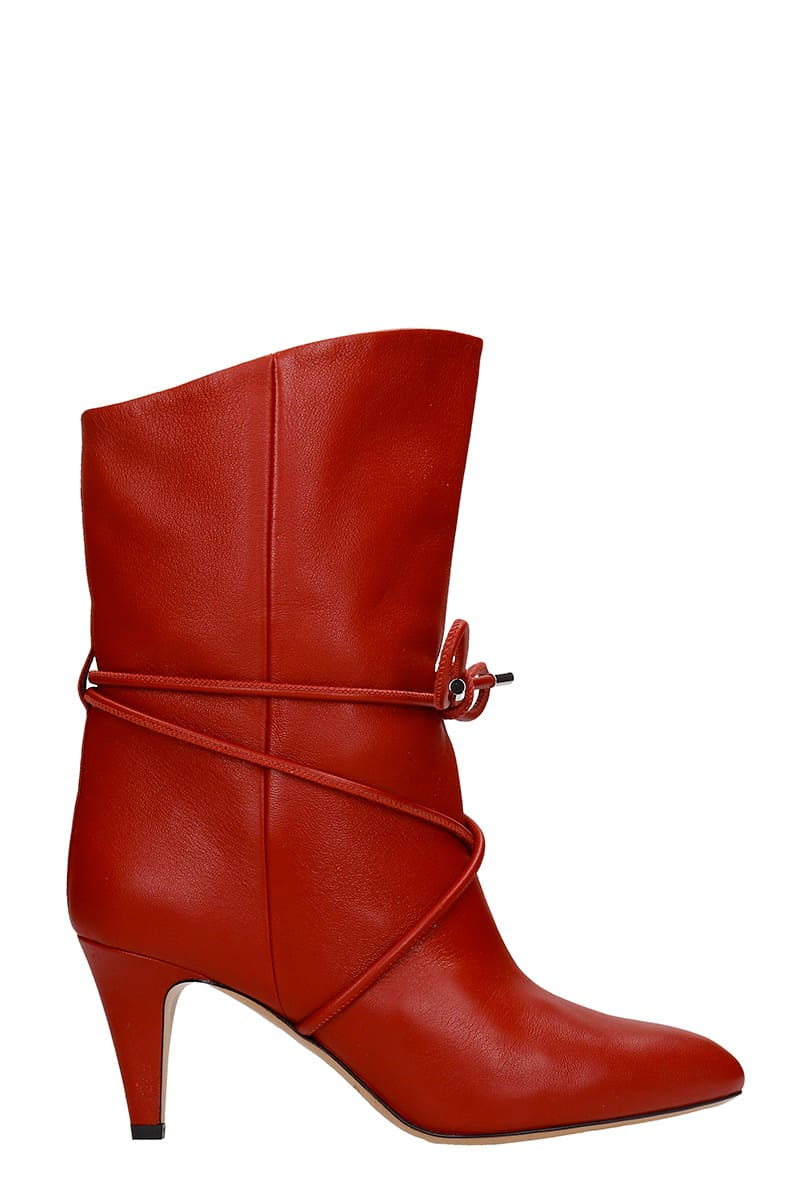 Buy Isabel Marant Lilda High Heels Ankle Boots In Red Leather online, shop Isabel Marant shoes with free shipping