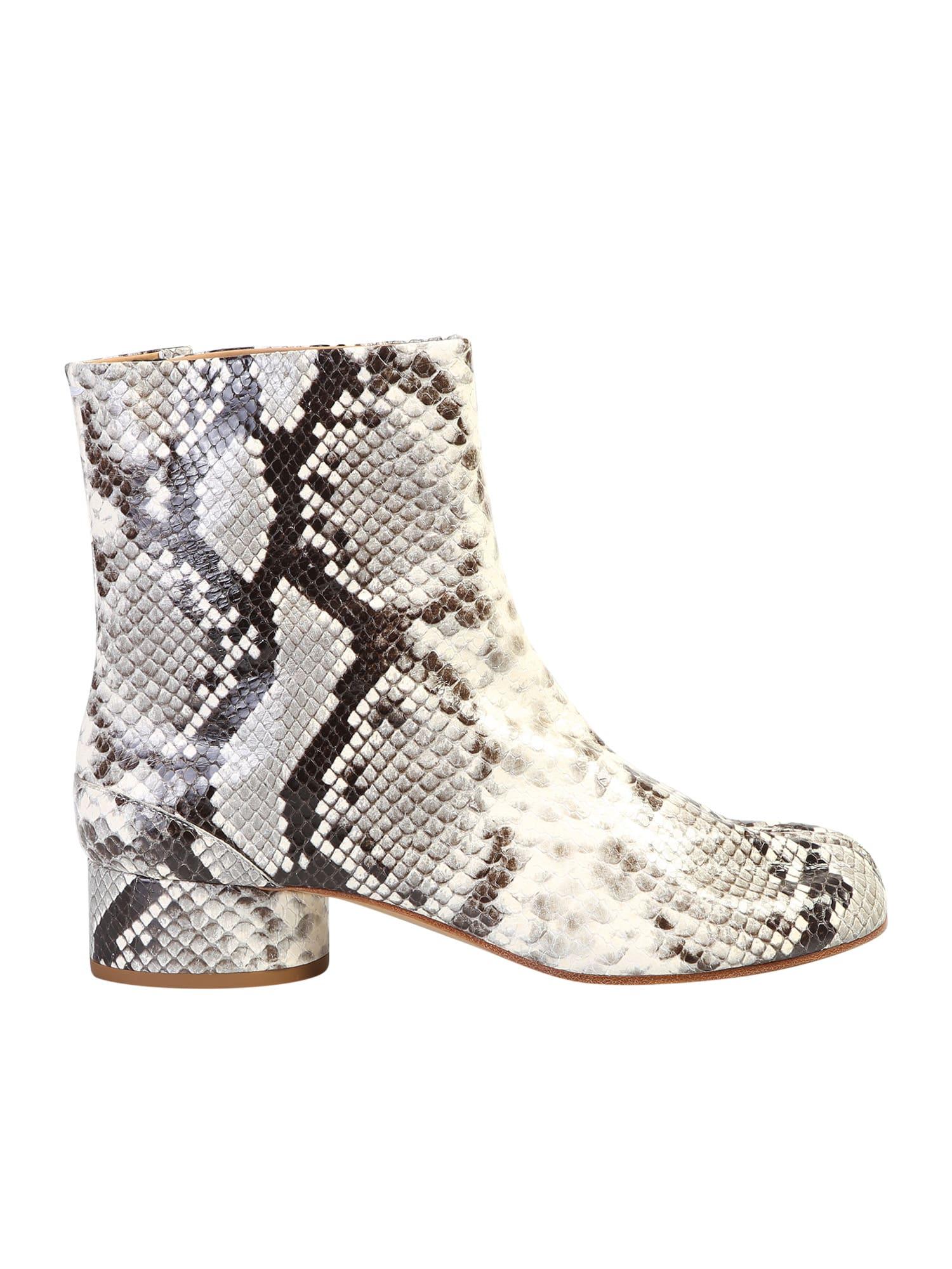adc2fa266a9 Maison Margiela Tabi Snakeskin Print Ankle Boots