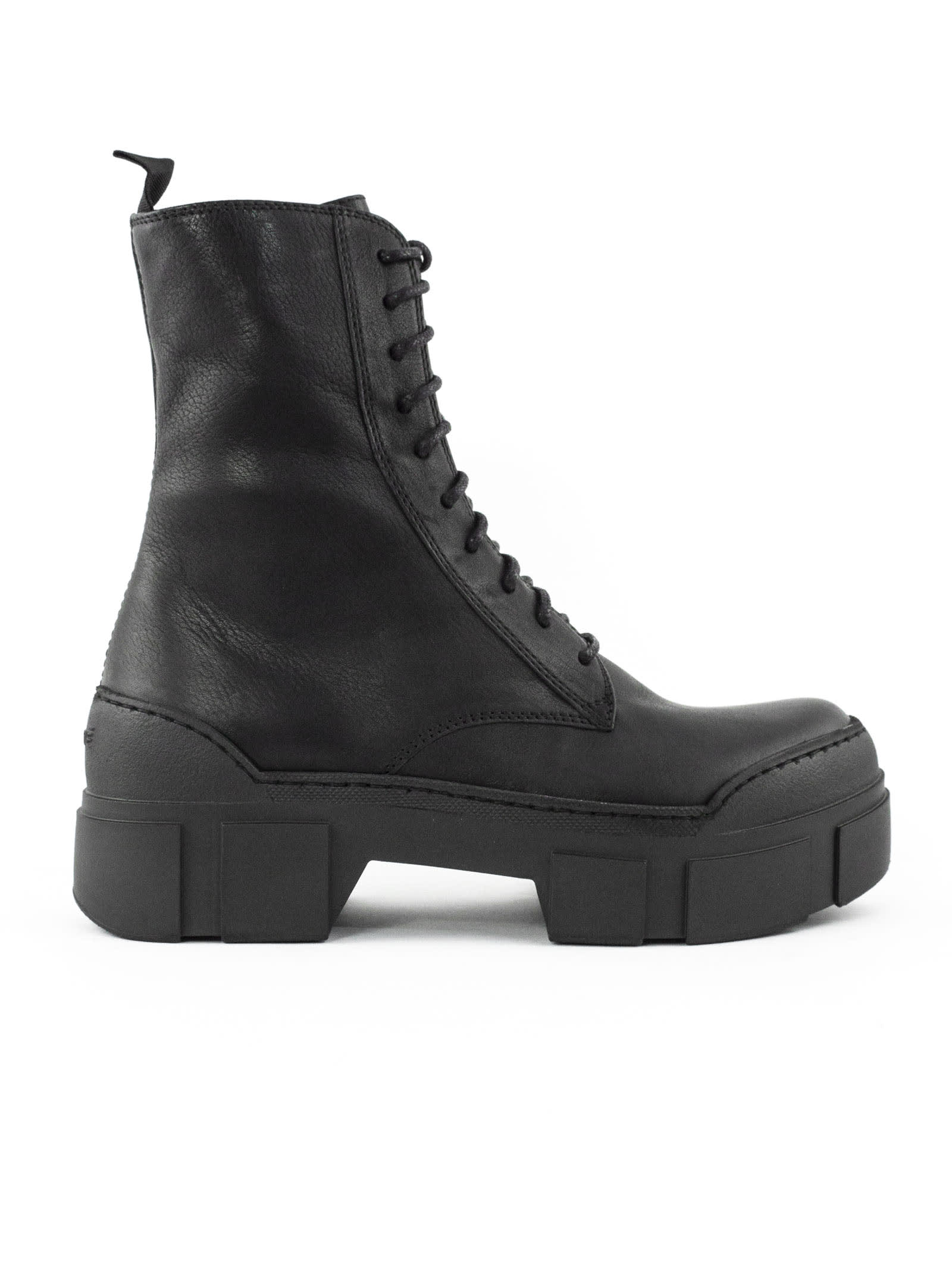 Vic Matie BLACK LEATHER ANKLE LACE-UP BOOTS