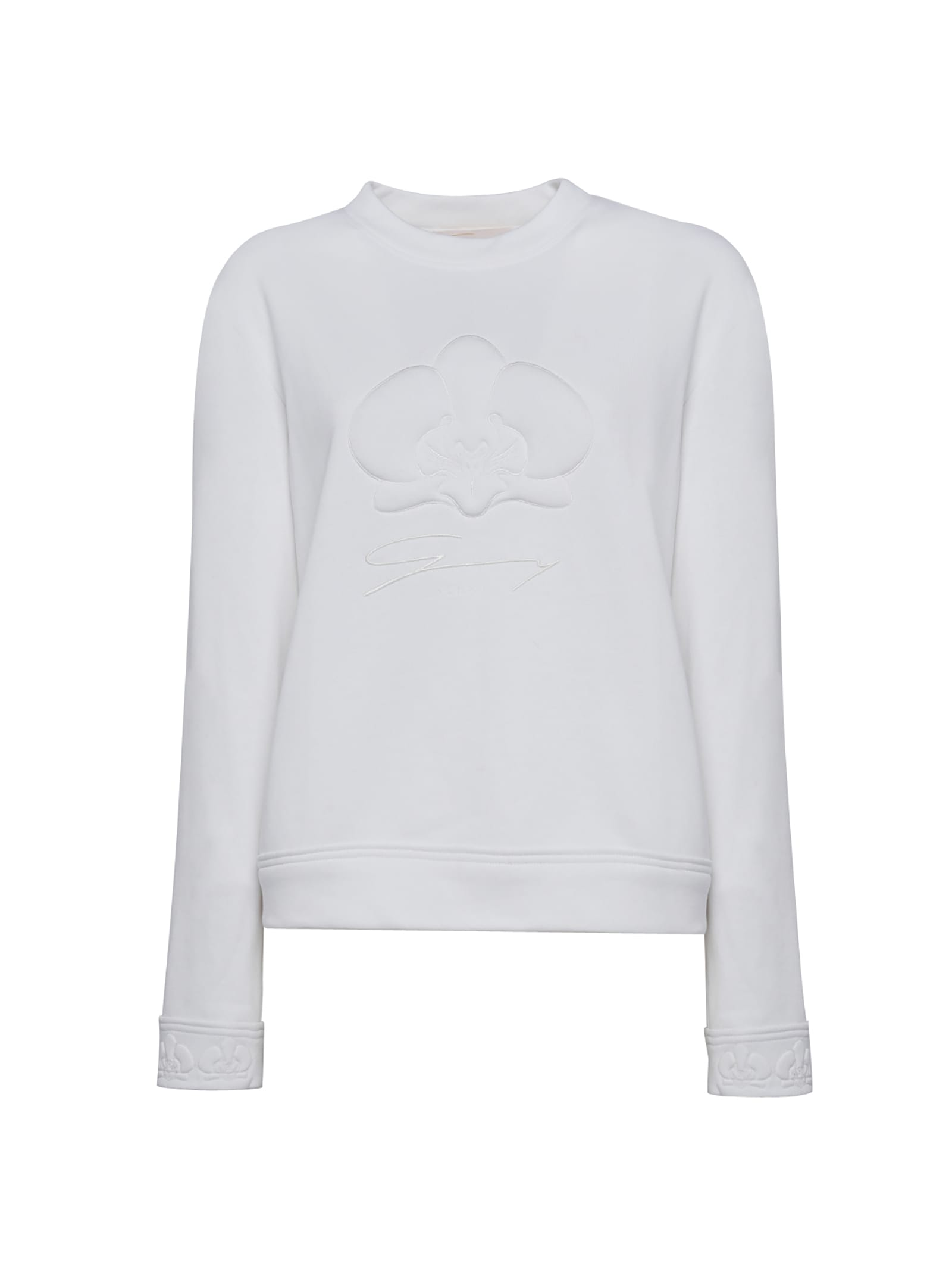 White Orchid Embossed Cotton-blend Sweater